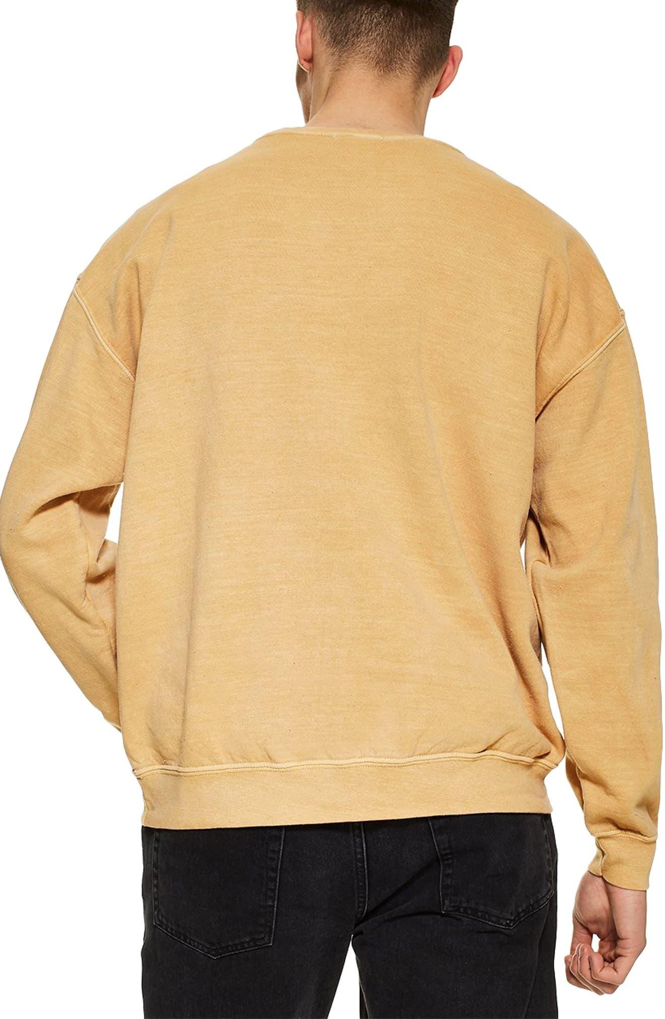 TOPMAN, Stockholm Sweatshirt, Alternate thumbnail 2, color, YELLOW