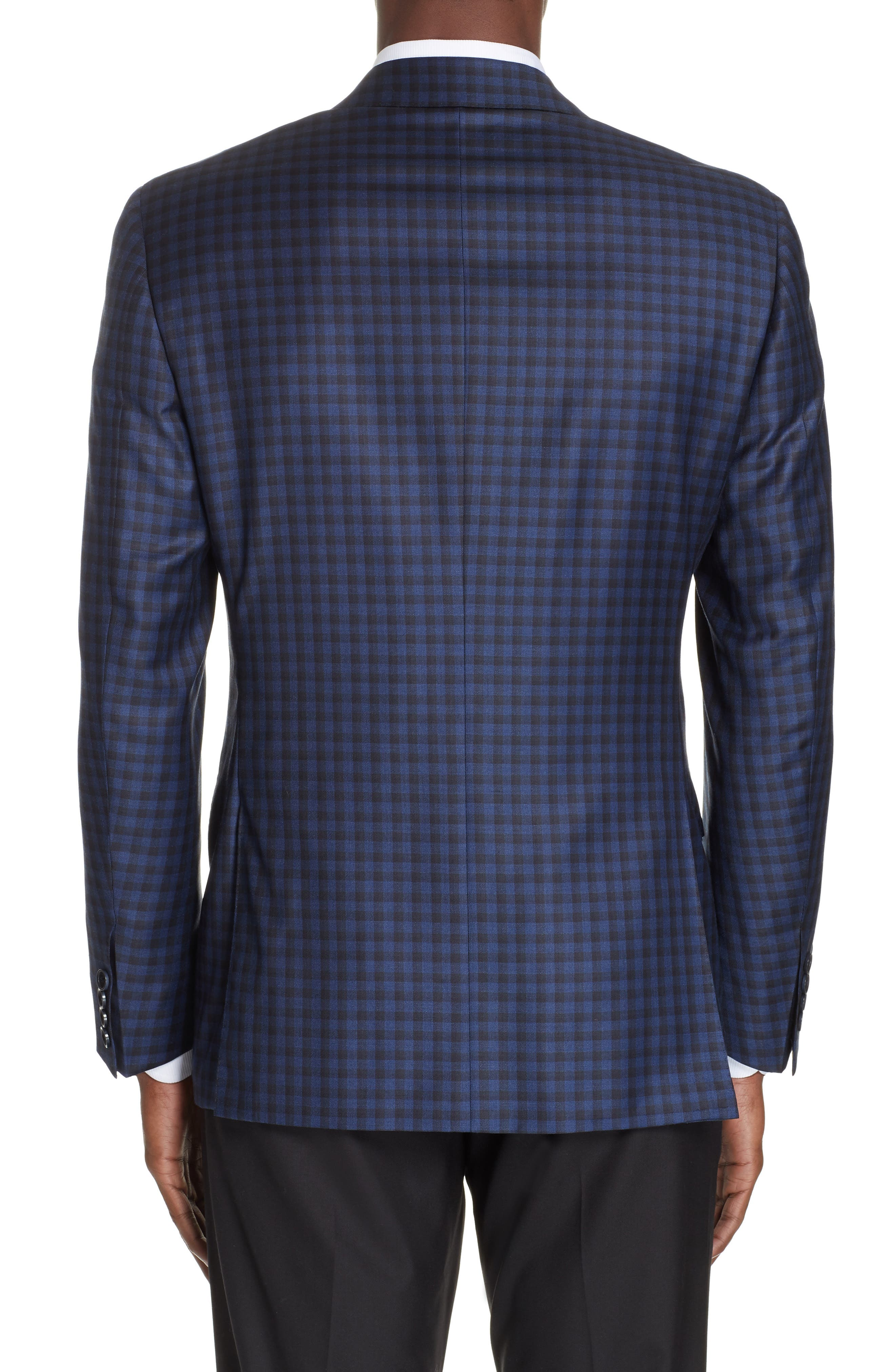 CANALI, Classic Fit Check Wool Sport Coat, Alternate thumbnail 2, color, BLUE