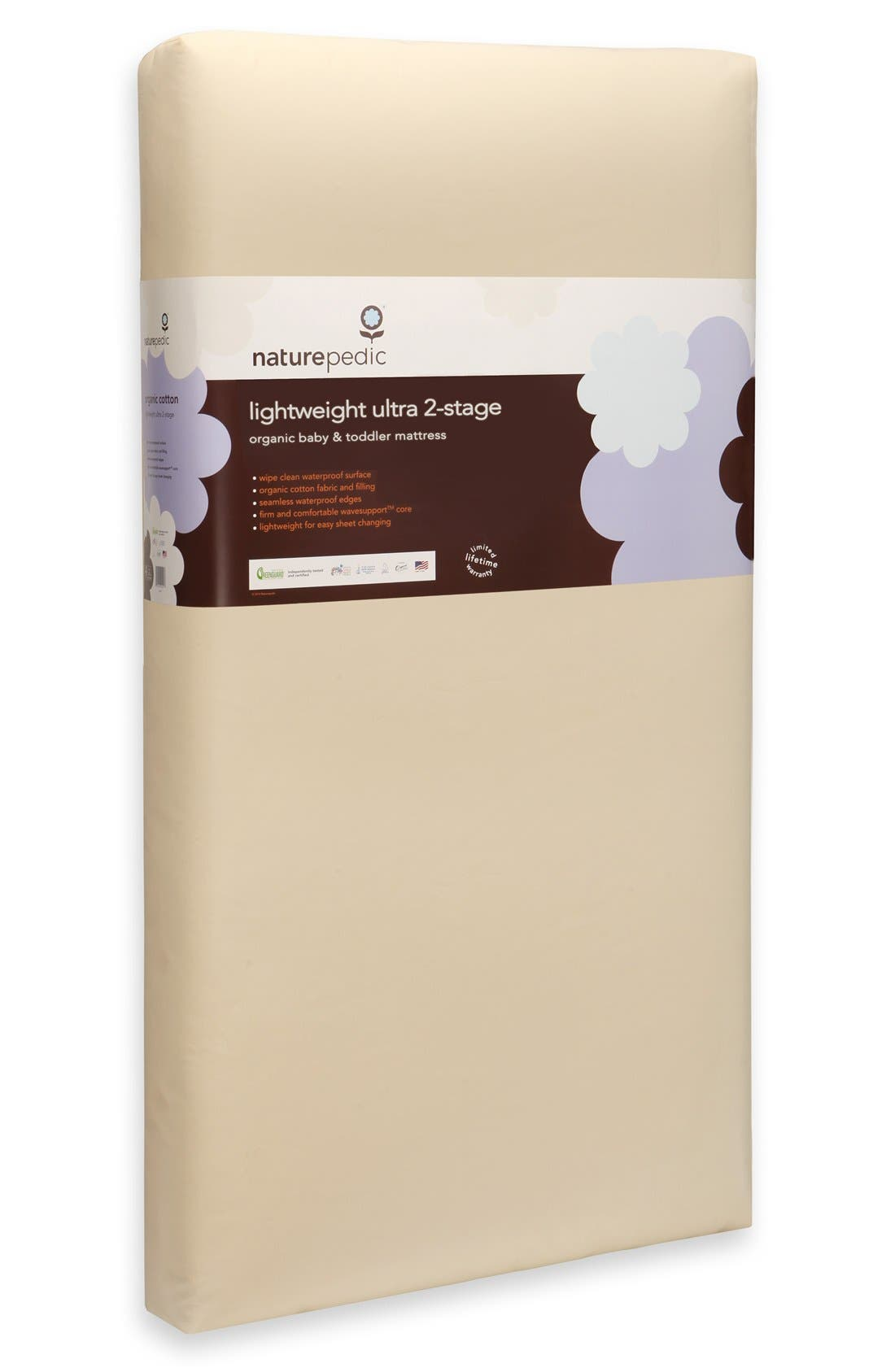 NATUREPEDIC, Lightweight Organic Cotton Ultra 2-Stage Crib Mattress, Alternate thumbnail 2, color, NATURAL