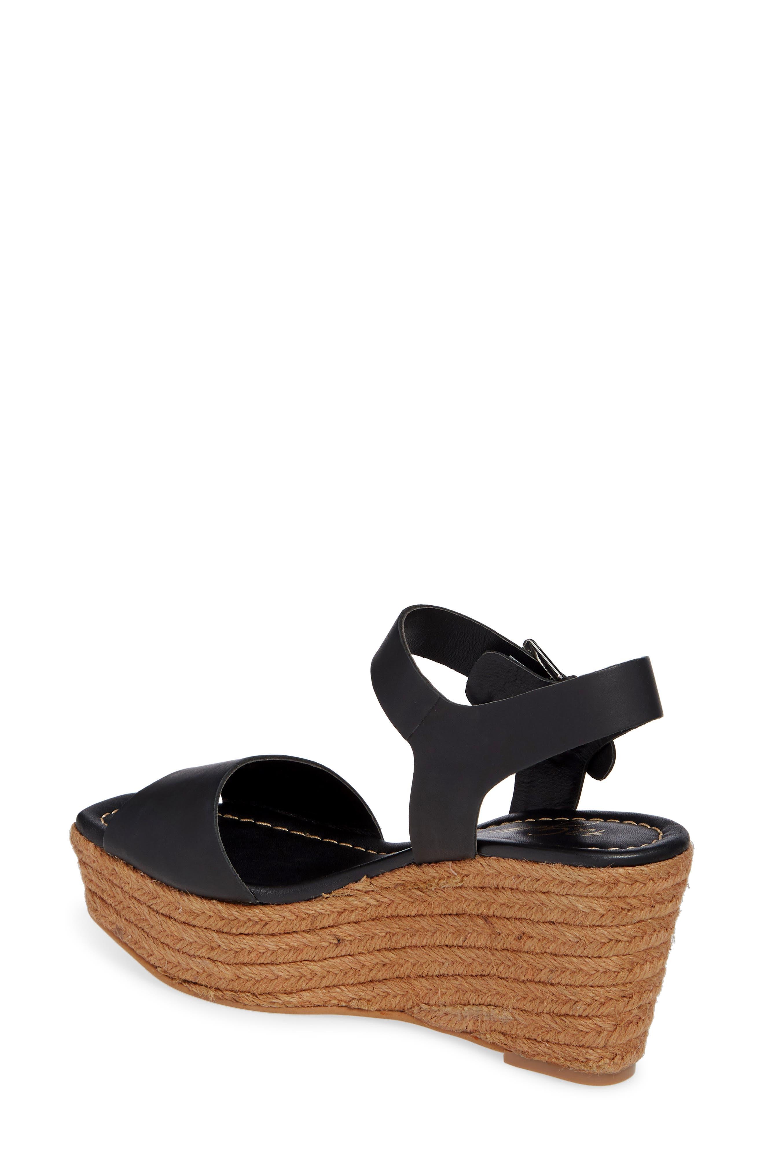 42 GOLD, Maine Platform Wedge Sandal, Alternate thumbnail 2, color, BLACK LEATHER