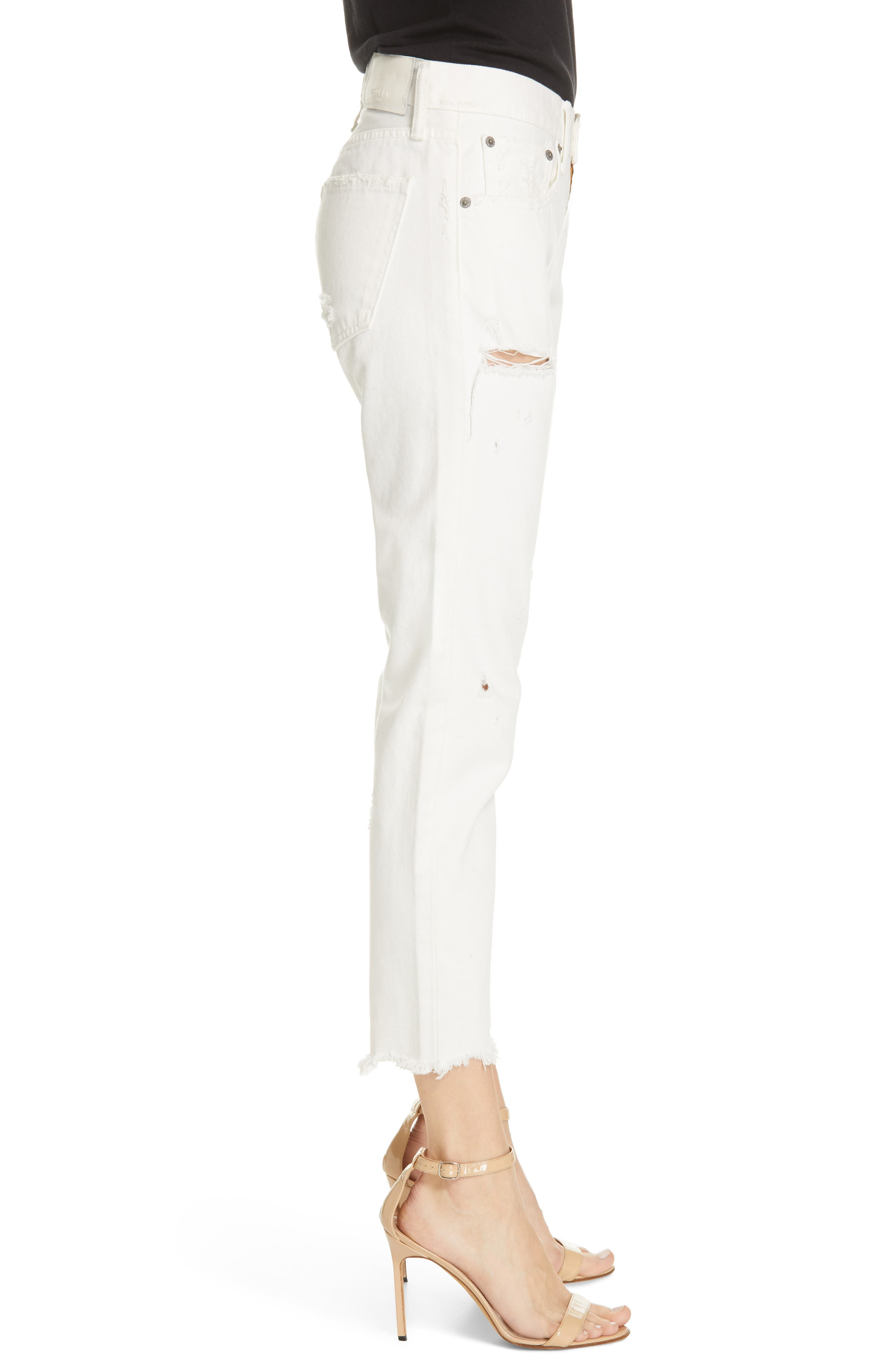 MOUSSY VINTAGE, Kelley Tapered Crop Jeans, Alternate thumbnail 3, color, WHITE