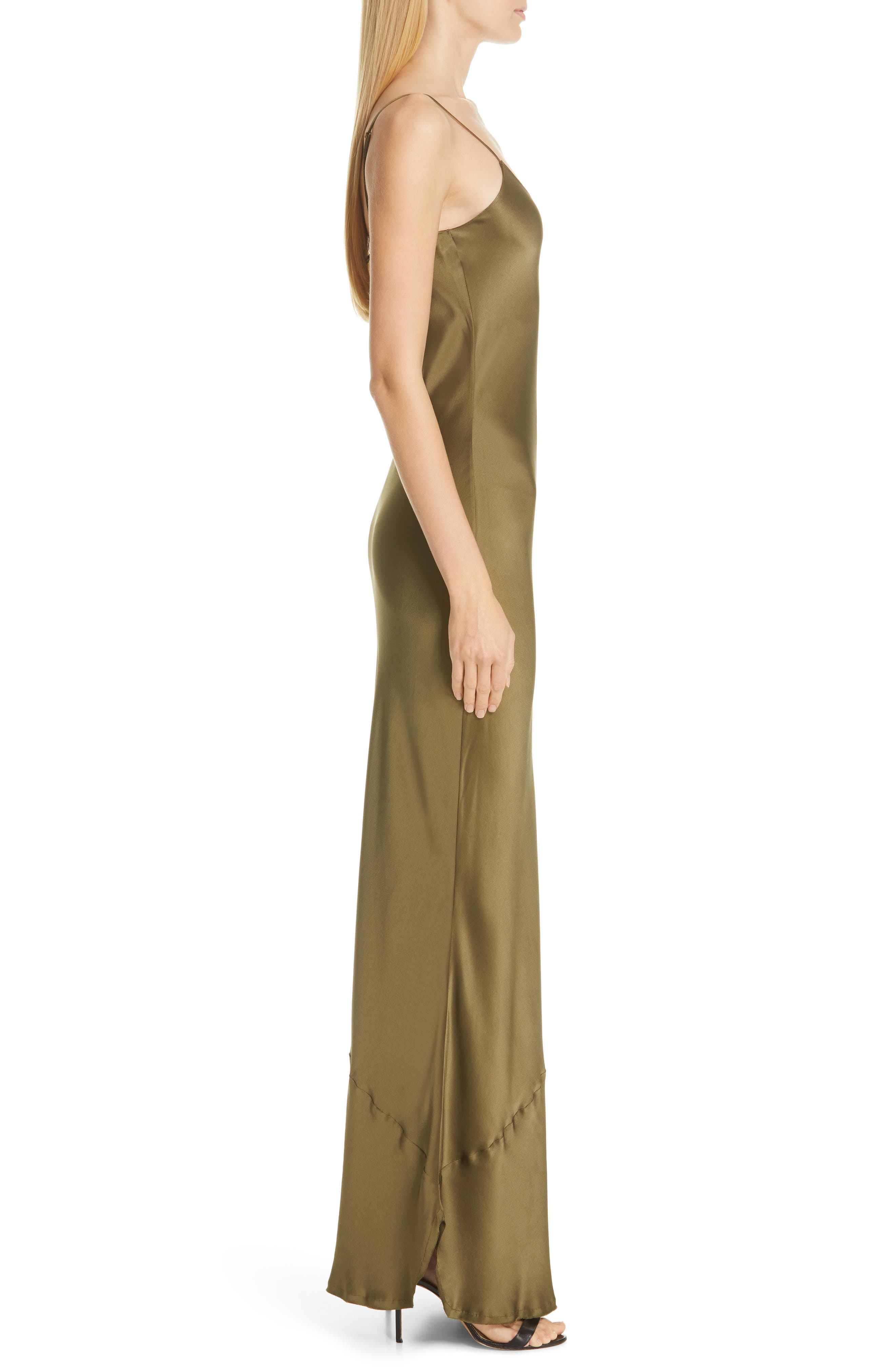 NILI LOTAN, Silk Camisole Gown, Alternate thumbnail 4, color, OLIVE