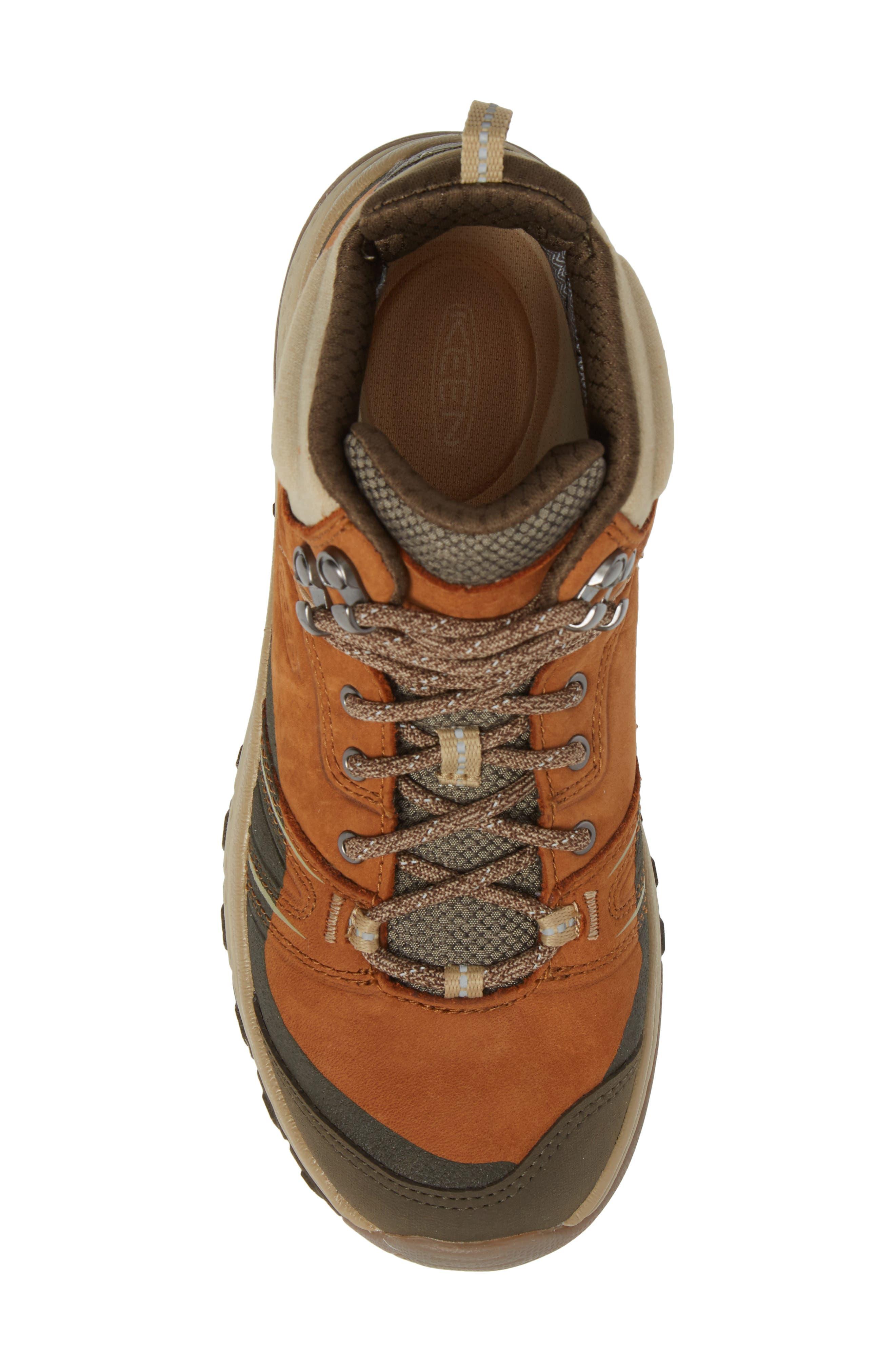 KEEN, Terradora Leather Waterproof Hiking Boot, Alternate thumbnail 5, color, TIMBER/ ORANGE NUBUCK