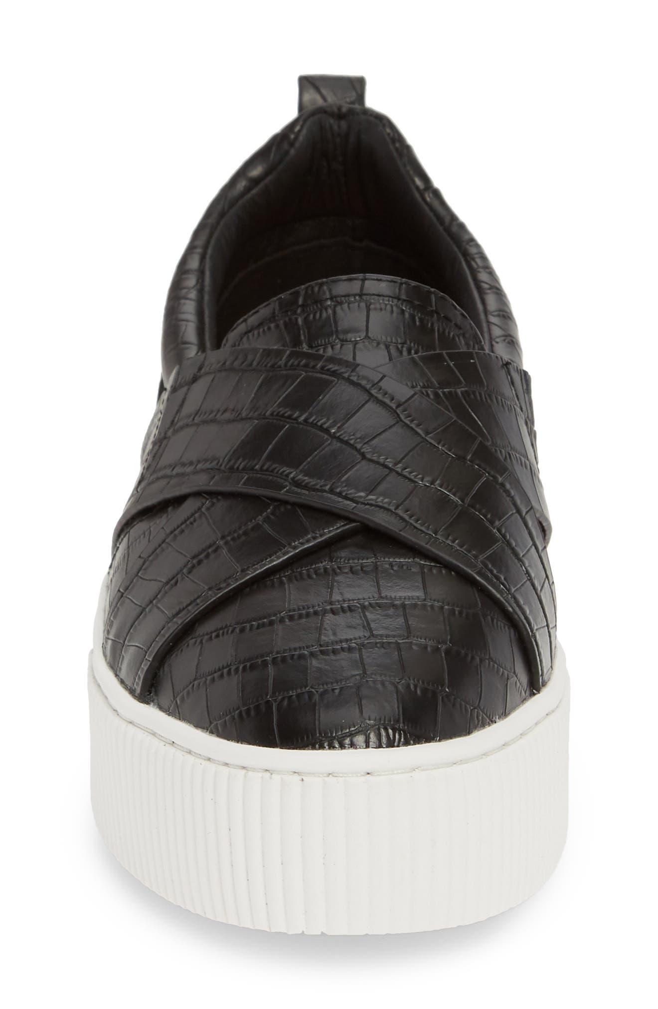 HALOGEN<SUP>®</SUP>, Blakely Slip-On Platform Sneaker, Alternate thumbnail 4, color, BLACK CROCO PRINTED LEATHER