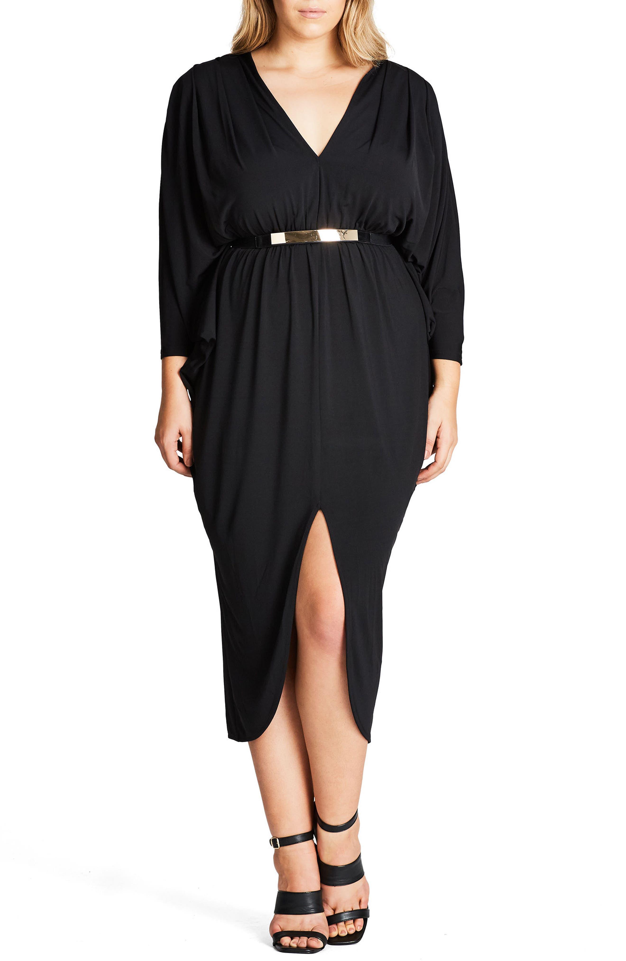 CITY CHIC, Va Va Voom Belted Maxi Dress, Alternate thumbnail 3, color, 001
