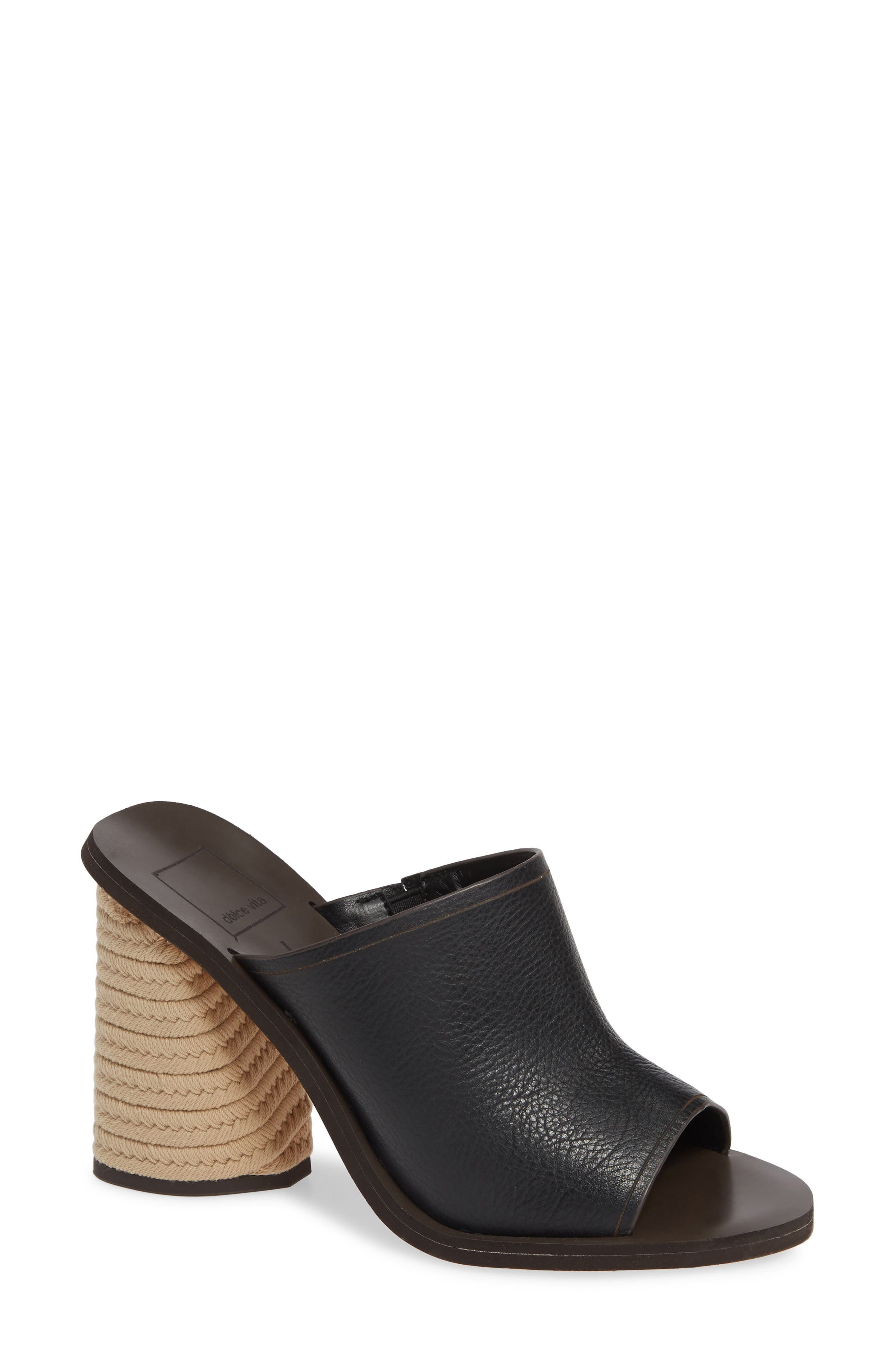 DOLCE VITA, Alba Braided Heel Mule Sandal, Main thumbnail 1, color, BLACK LEATHER