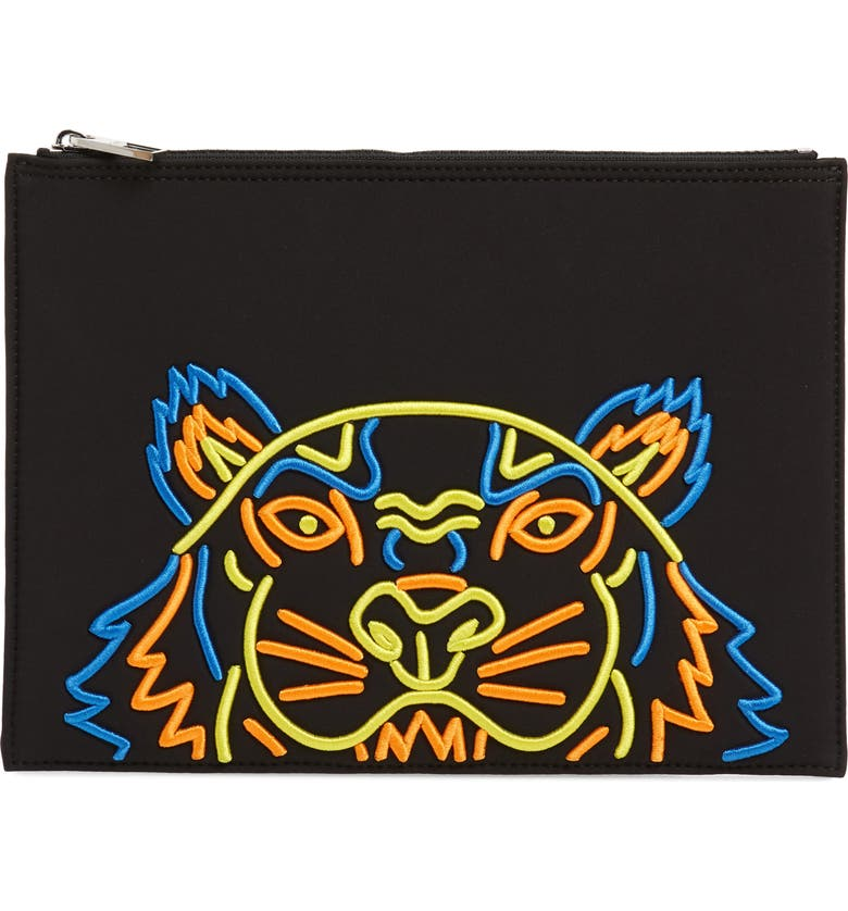 Kenzo Accessories EMBROIDERED ZIP POUCH - BLACK