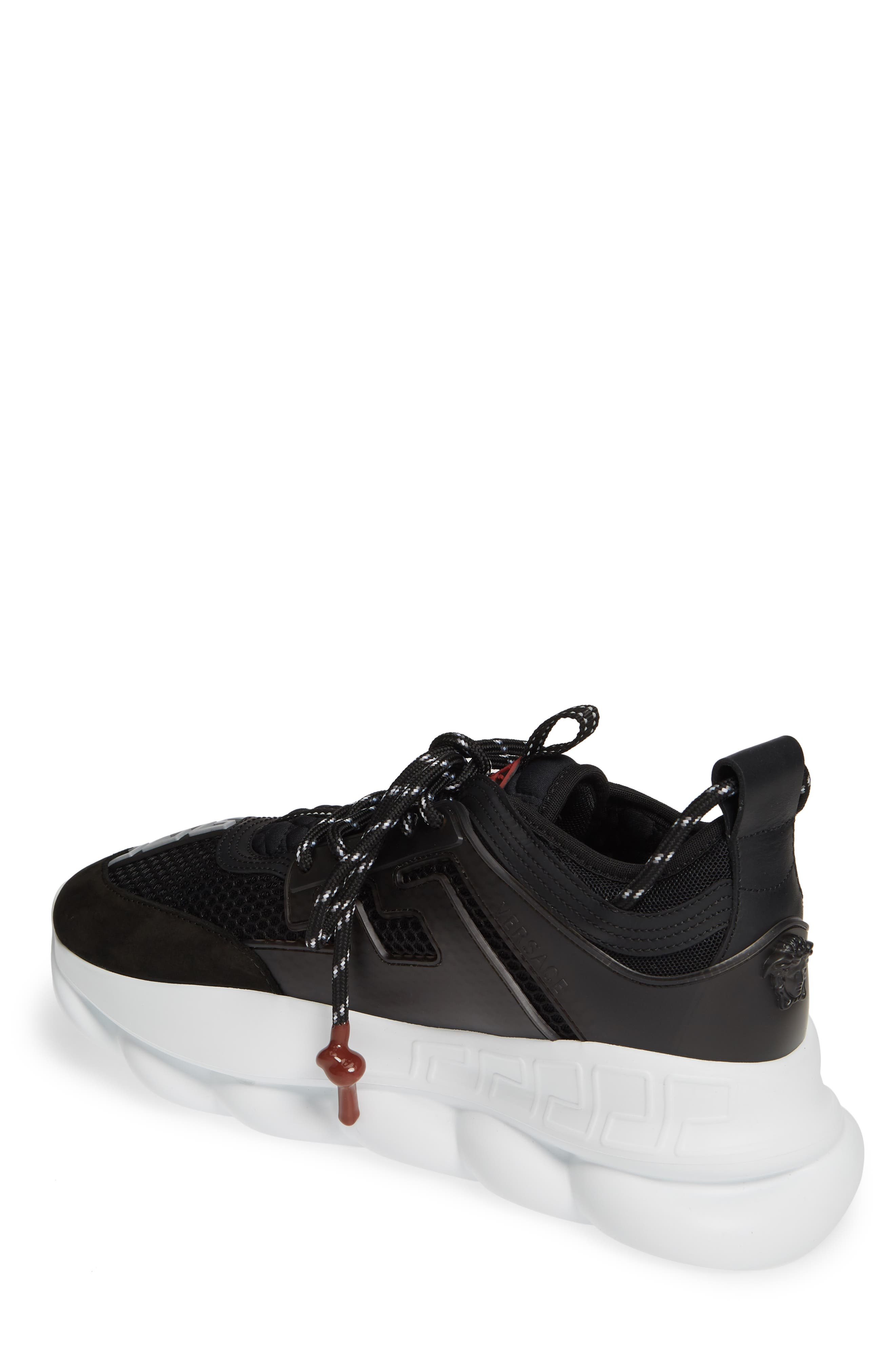 VERSACE FIRST LINE, Versace Chain Reaction Sneaker, Alternate thumbnail 2, color, BLACK/ GREY