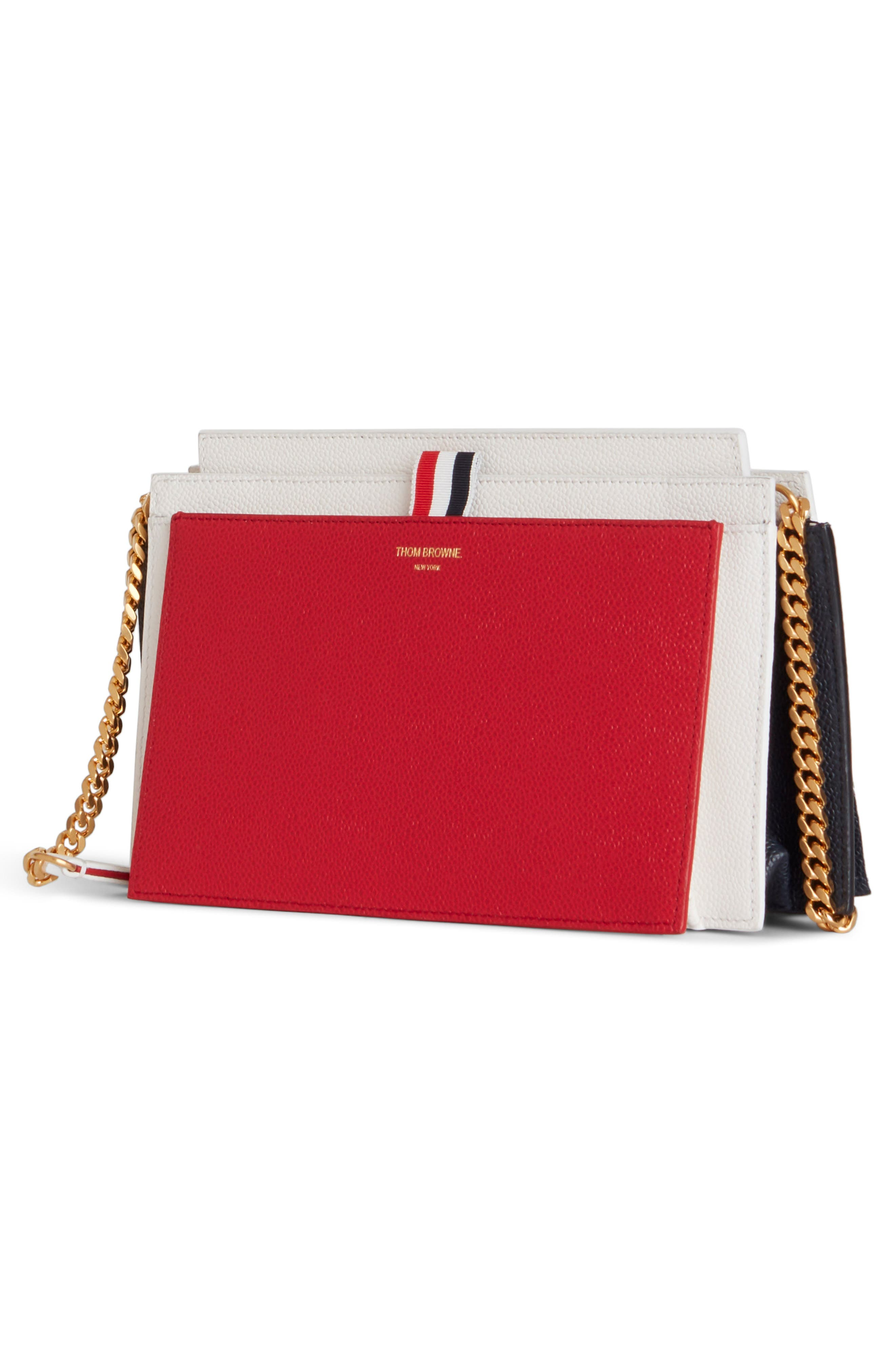 THOM BROWNE, Colorblock Leather Accordion Clutch, Alternate thumbnail 2, color, RED/ WHITE/ BLACK