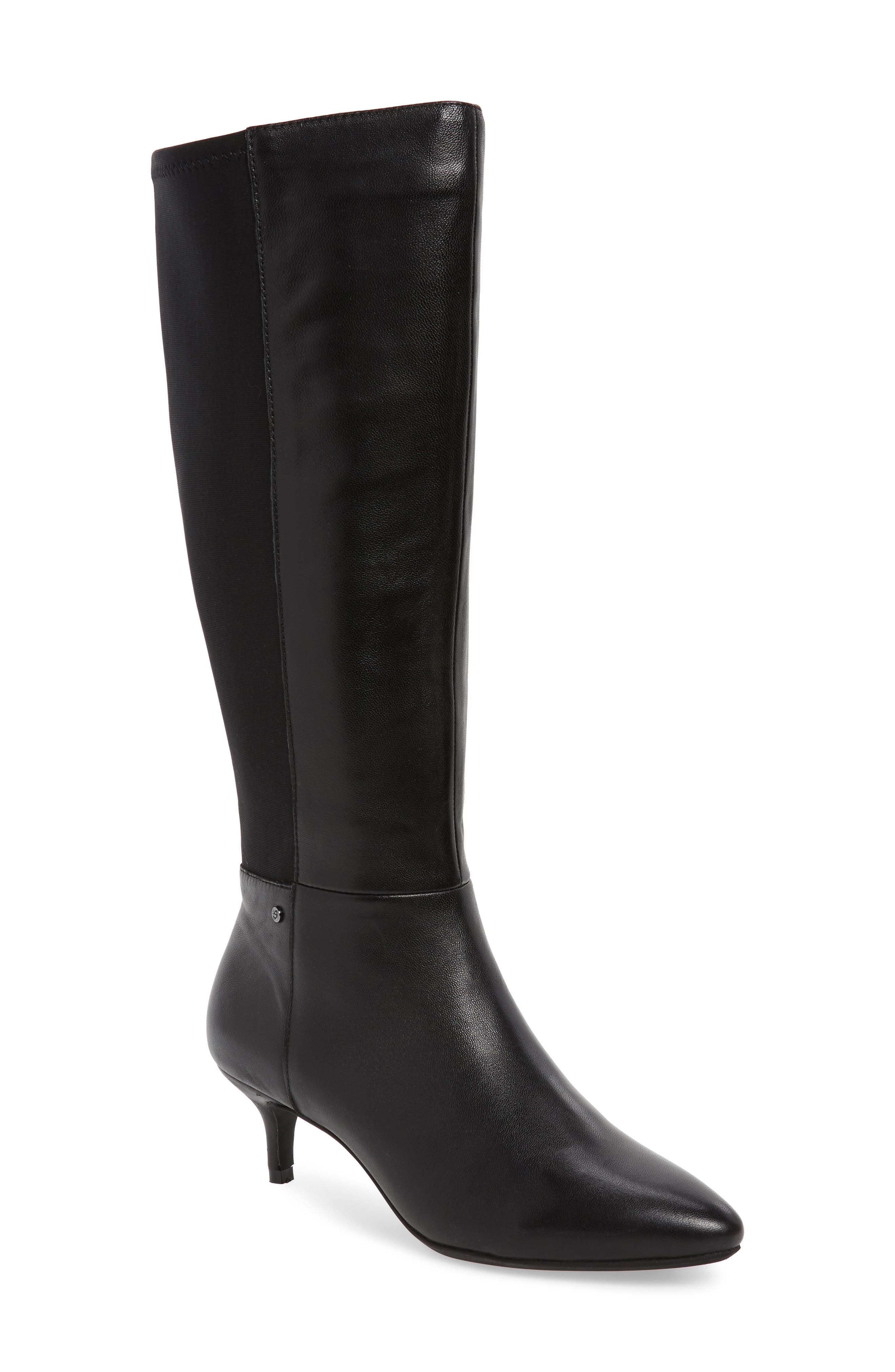SUDINI Beverly Stretch Back Knee High Boot, Main, color, BLACK