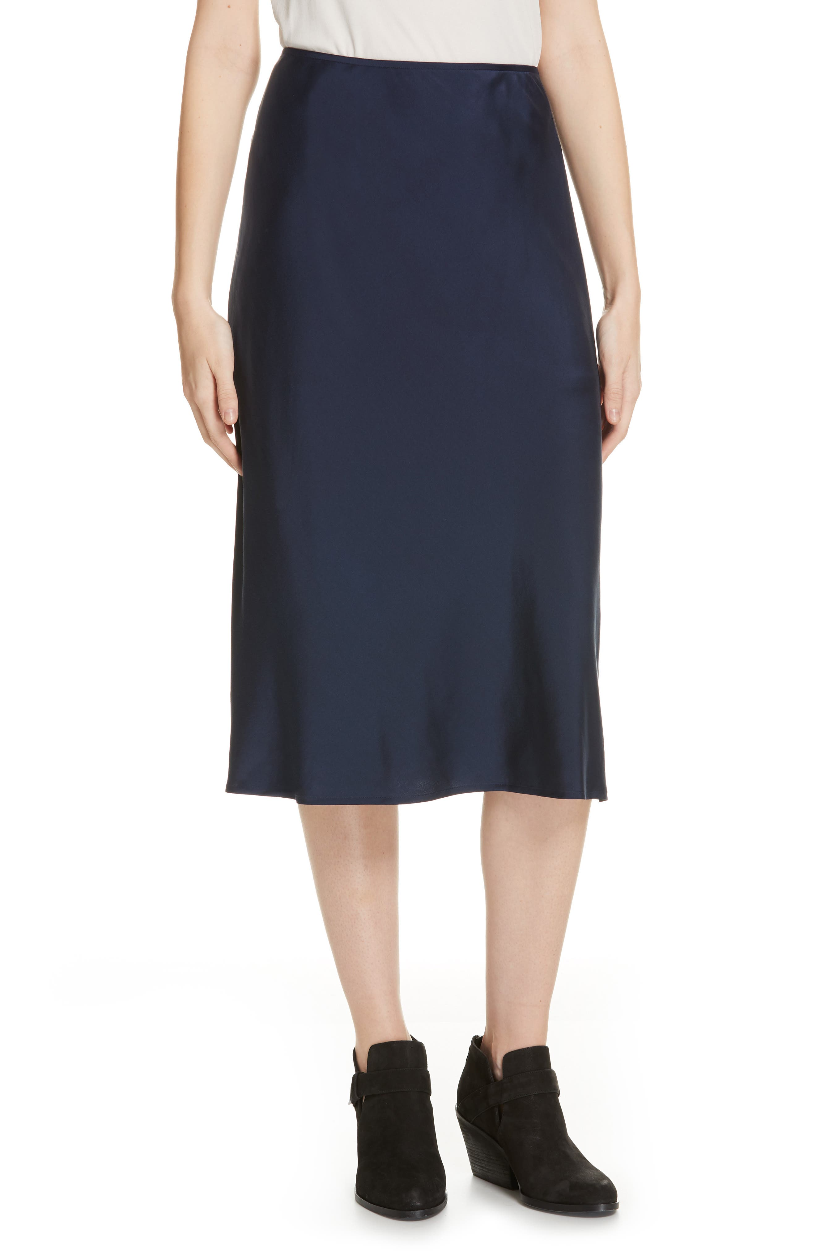 EILEEN FISHER Stretch Silk Midi Skirt, Main, color, 419