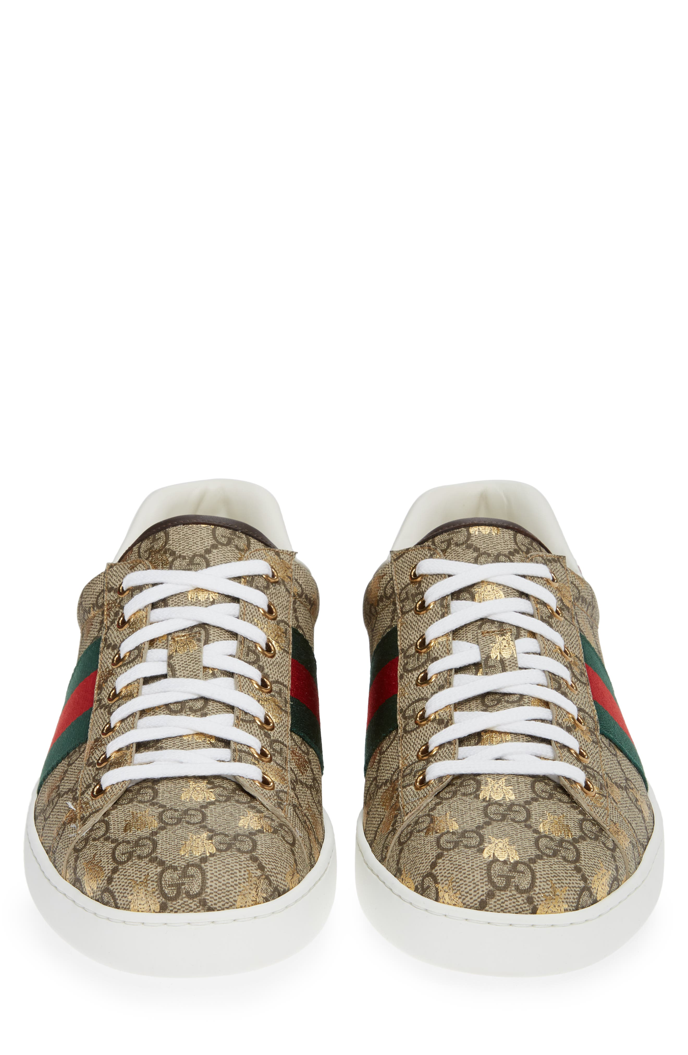 GUCCI, New Ace GG Supreme Sneaker, Alternate thumbnail 4, color, BEIGE/ GOLD