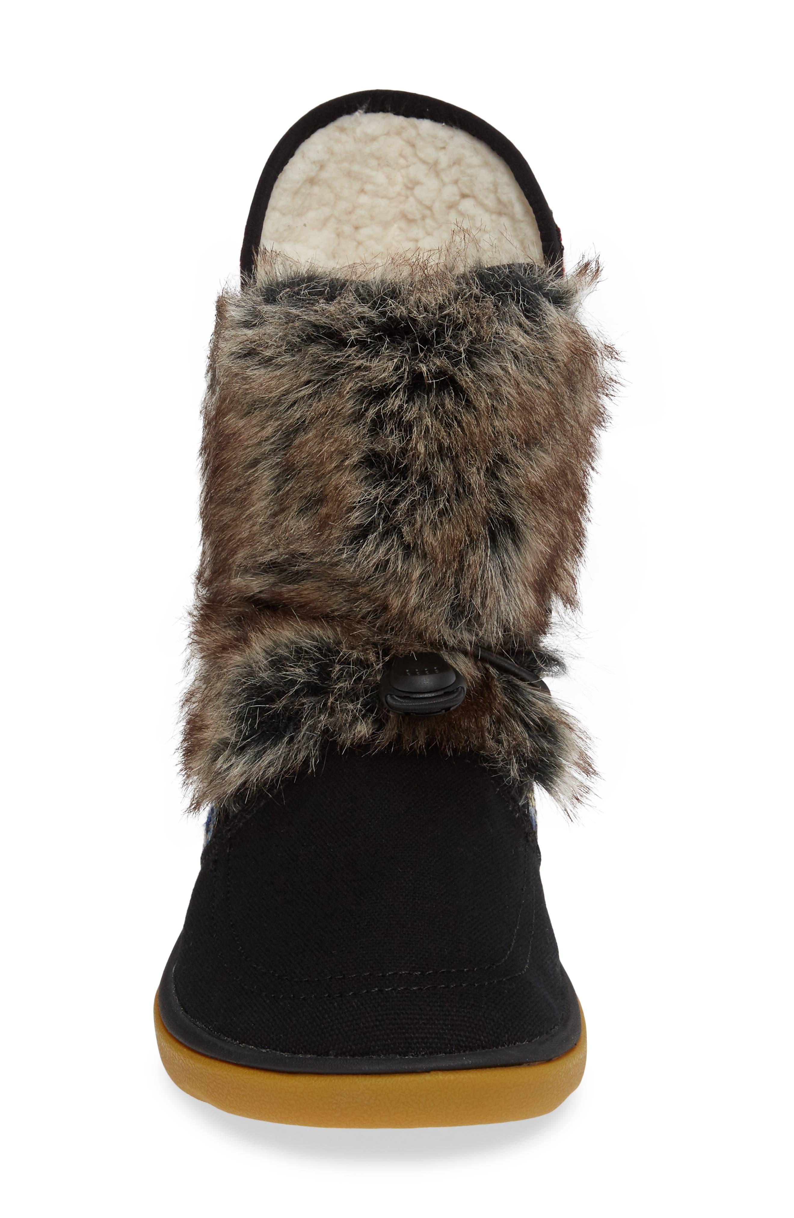 SANUK, Tripper Flurry Faux Fur Boot, Alternate thumbnail 4, color, BLACK