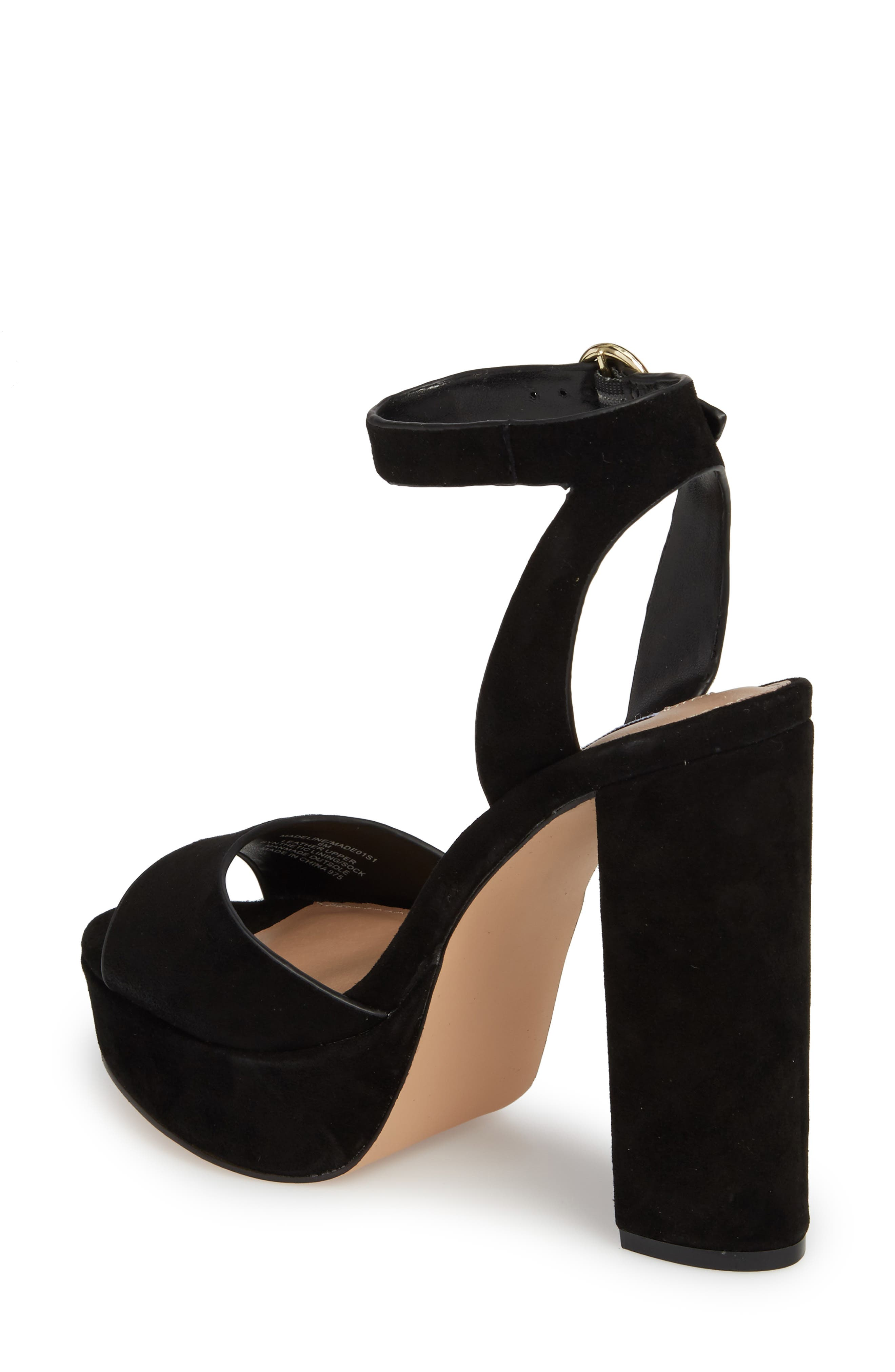 STEVE MADDEN, Madeline Platform Sandal, Alternate thumbnail 2, color, BLACK SUEDE