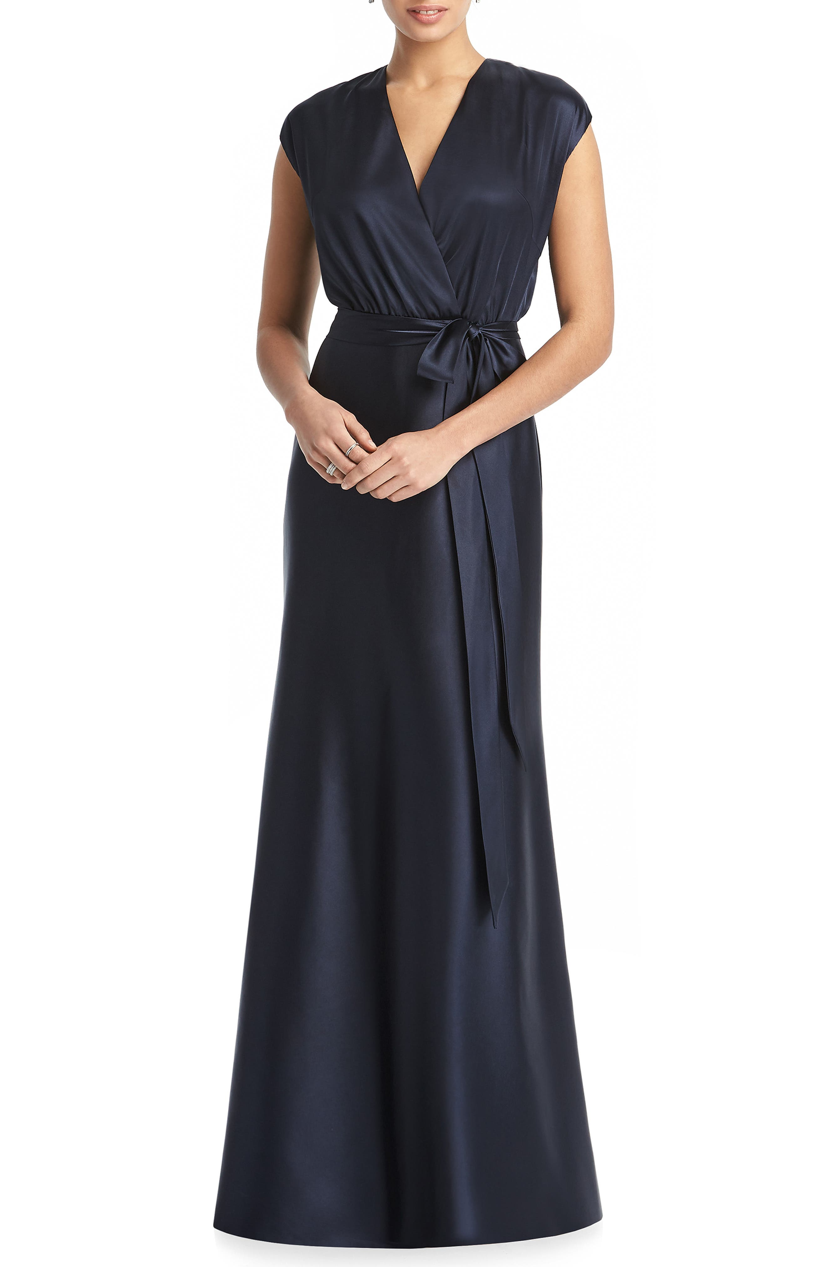 DESSY COLLECTION, V-Neck Stretch Chameuse Gown, Main thumbnail 1, color, MIDNIGHT