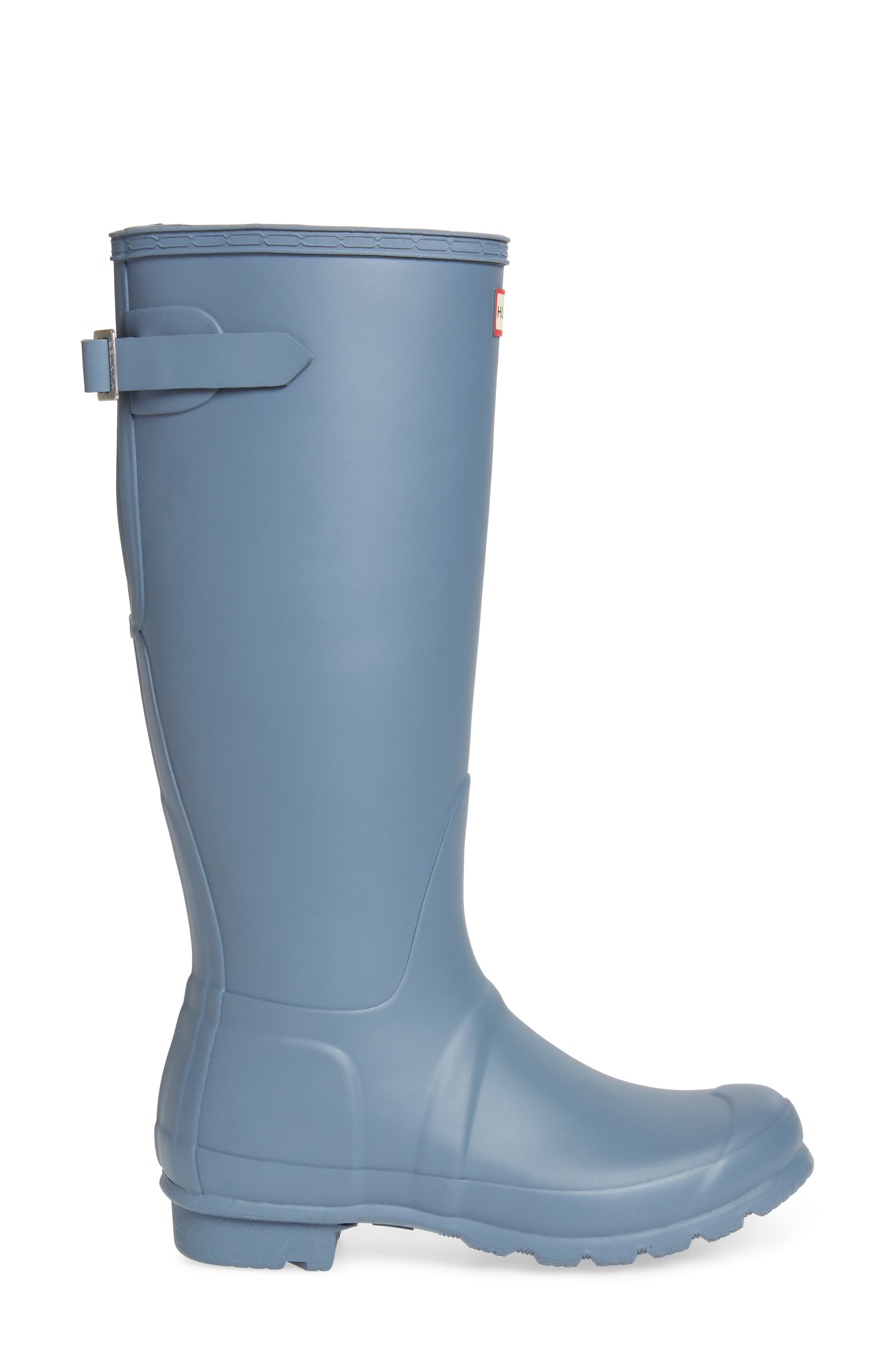 HUNTER, Original Tall Adjustable Back Waterproof Rain Boot, Alternate thumbnail 3, color, GULL GREY MATTE