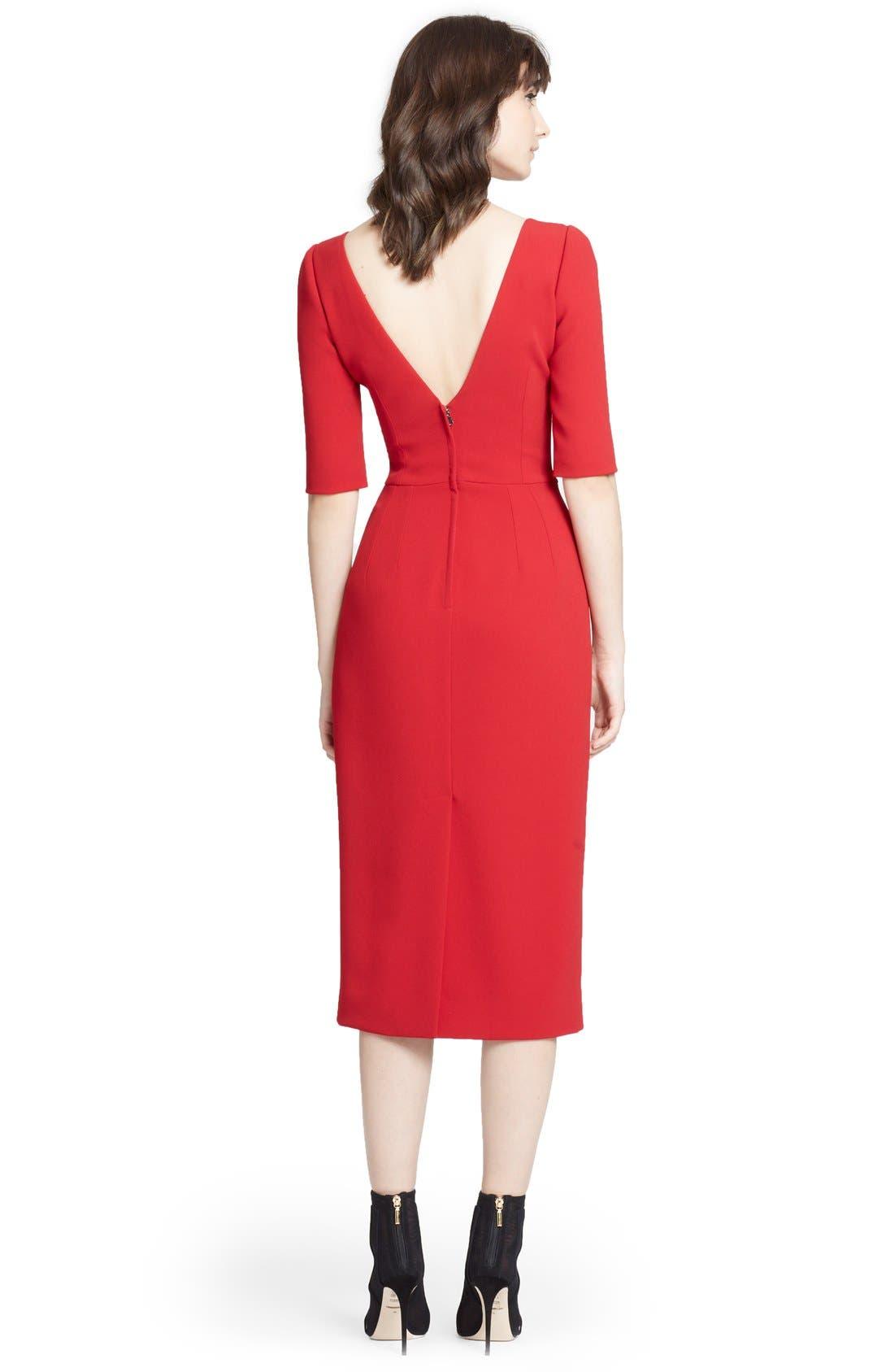 DOLCE&GABBANA, V-Back Pencil Dress, Alternate thumbnail 2, color, 620