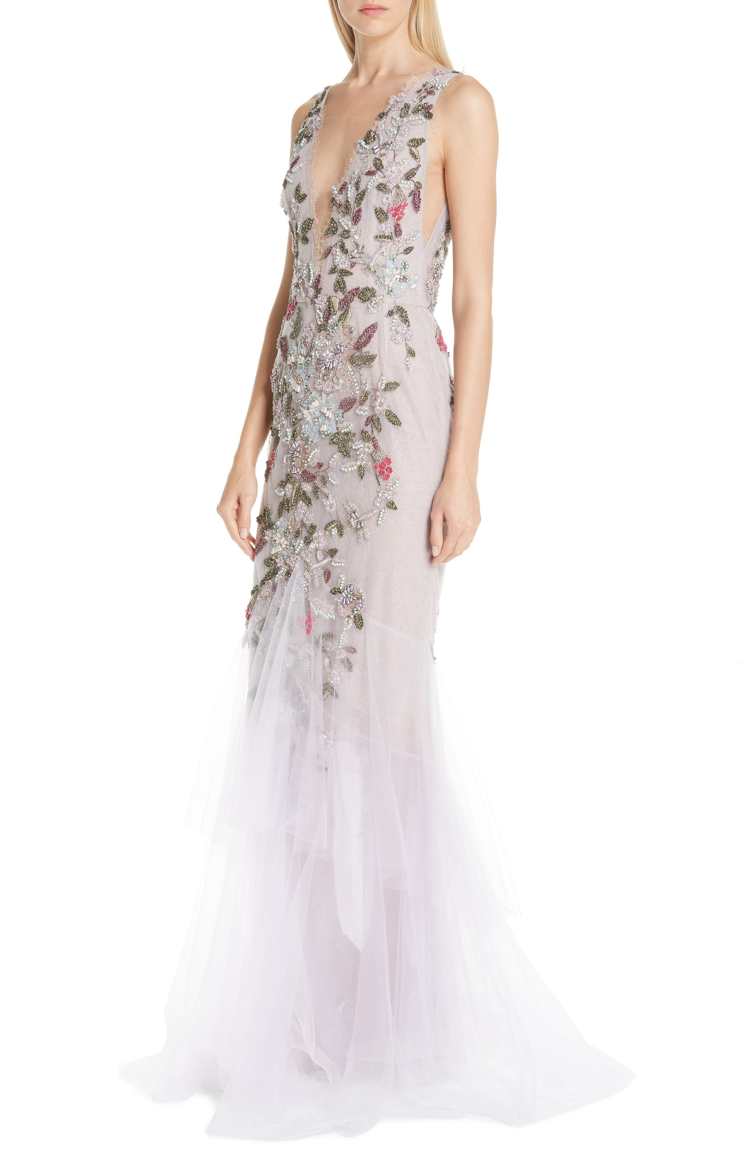 MARCHESA, Embroidered Floral Evening Dress, Alternate thumbnail 4, color, LILAC