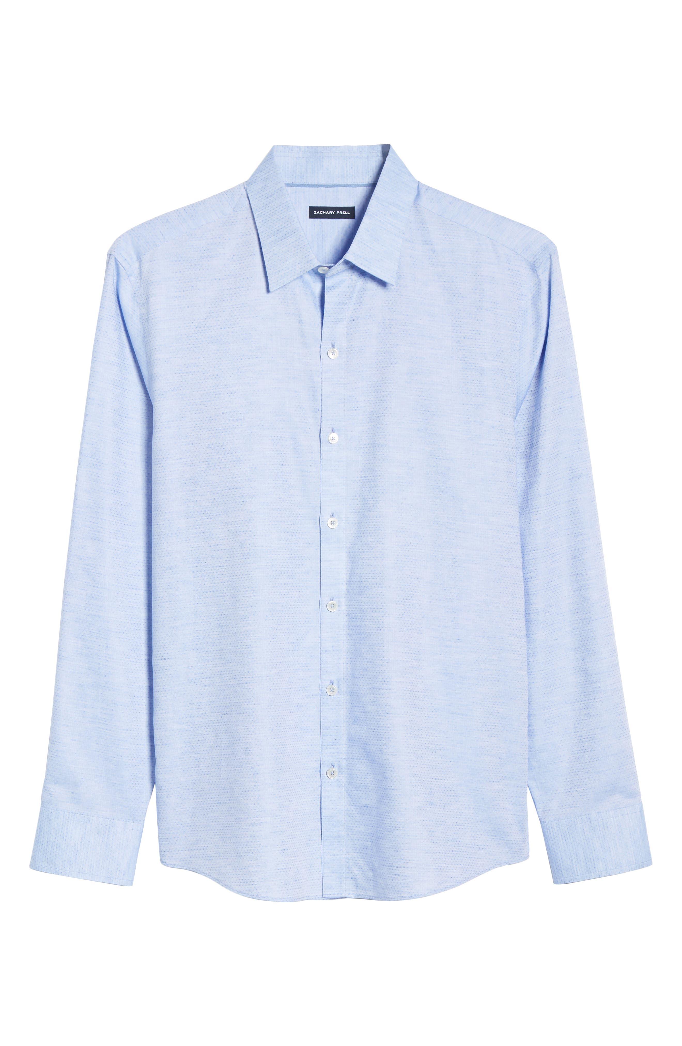 ZACHARY PRELL, Alfano Regular Fit Cotton & Linen Sport Shirt, Alternate thumbnail 5, color, LT BLUE