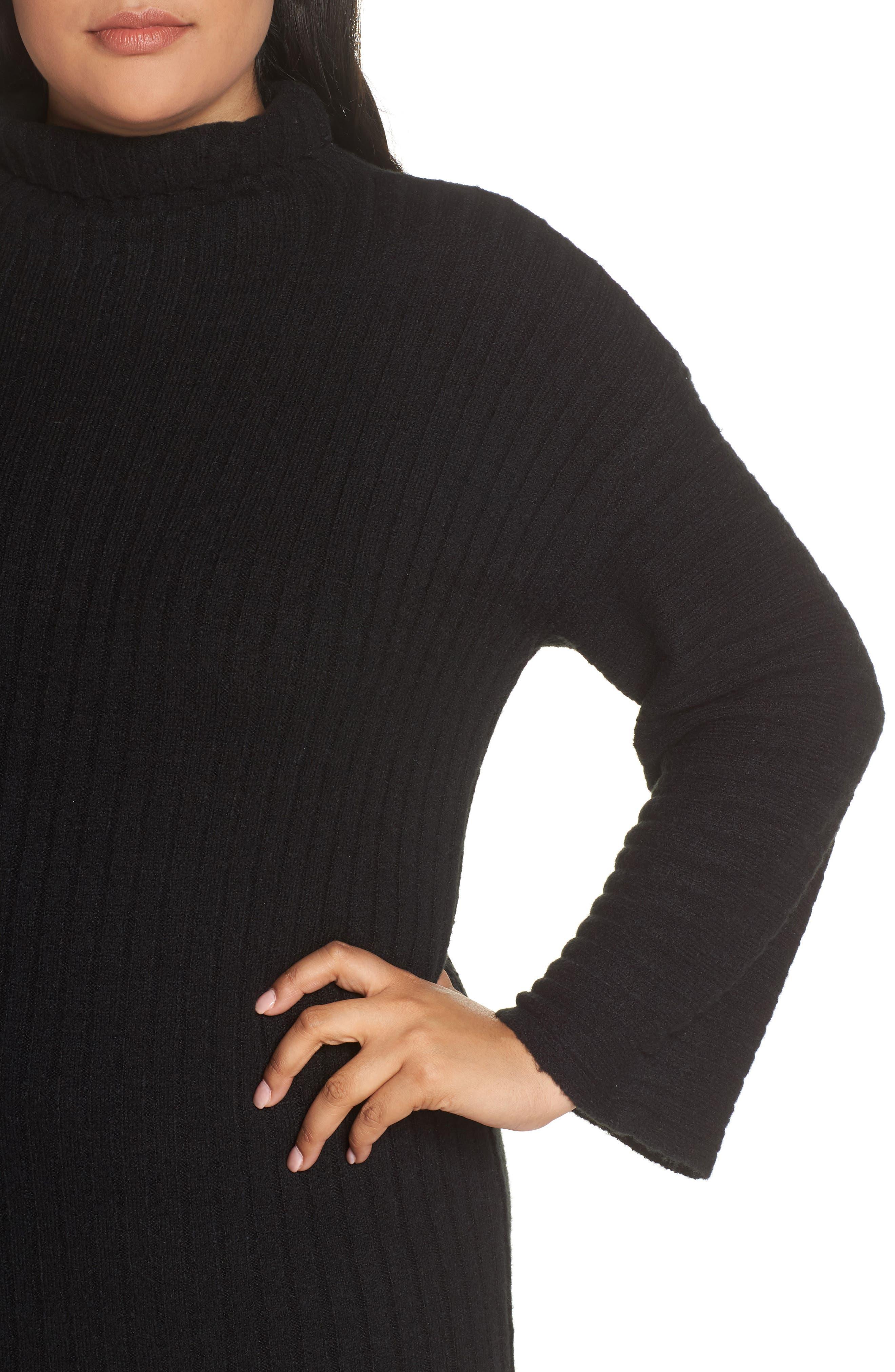 LEITH, Ribbed Midi Sweater Dress, Alternate thumbnail 5, color, BLACK
