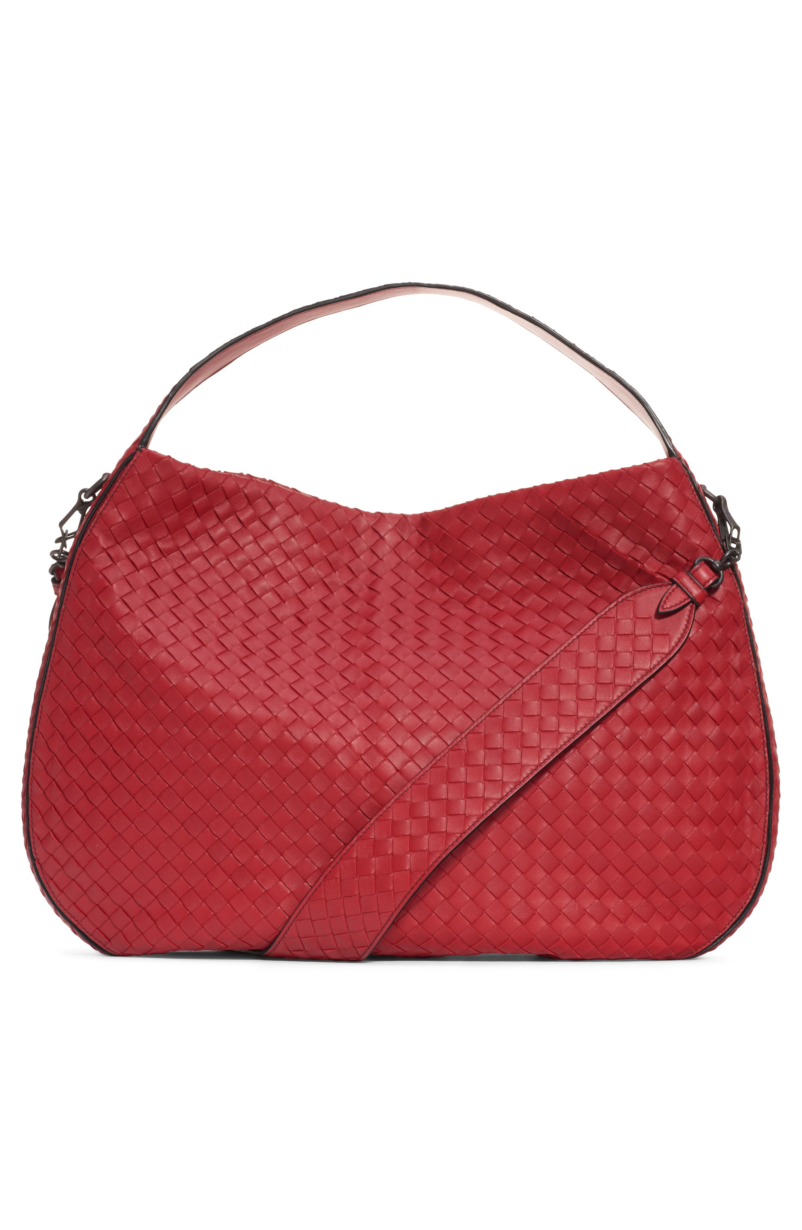 BOTTEGA VENETA, City Veneta Shoulder Bag, Alternate thumbnail 2, color, BACCARA RED-NERO/ BRUNITO