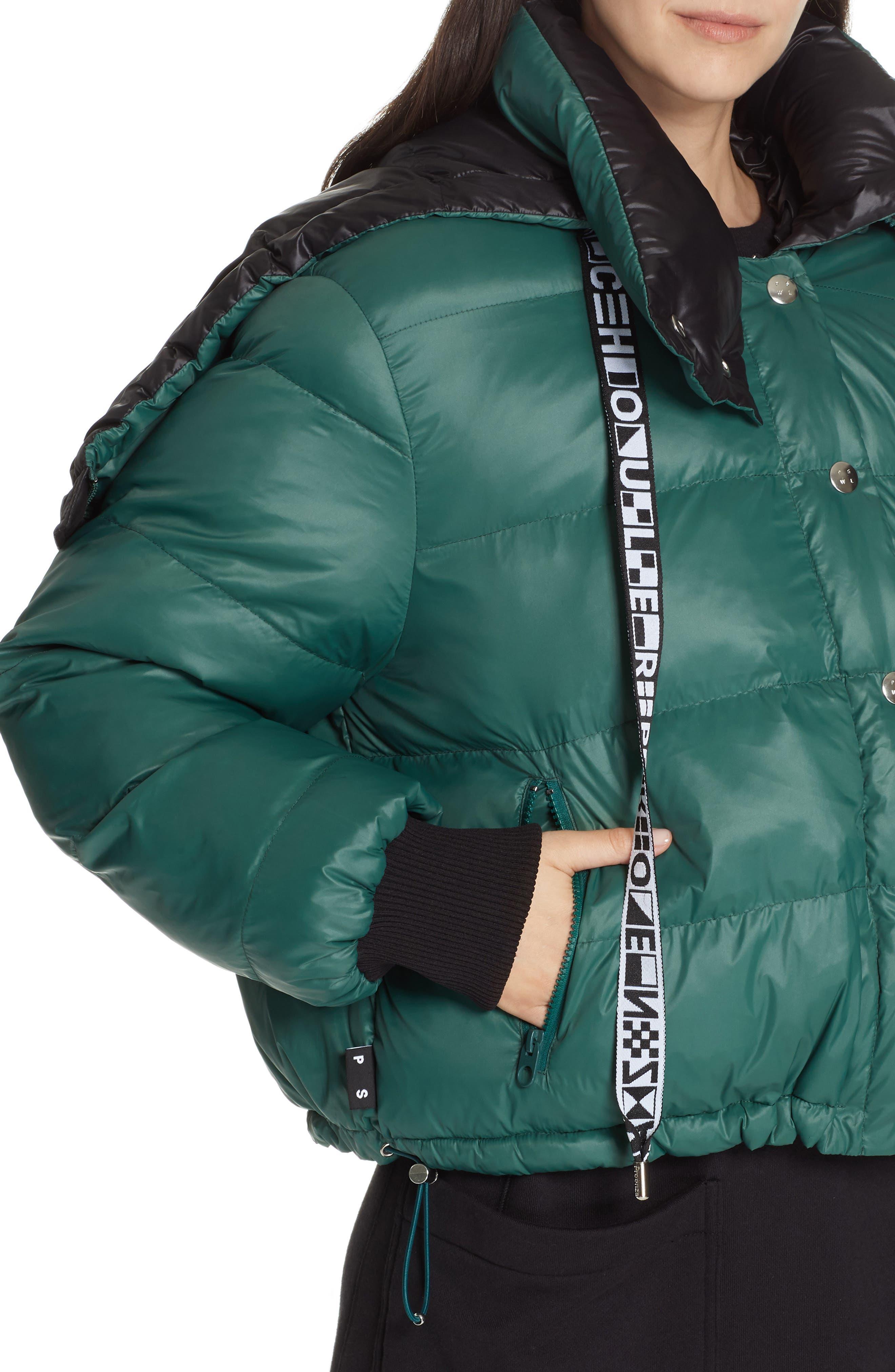 PROENZA SCHOULER, PSWL Reversible Puffer Coat, Alternate thumbnail 6, color, GREEN/ BLACK