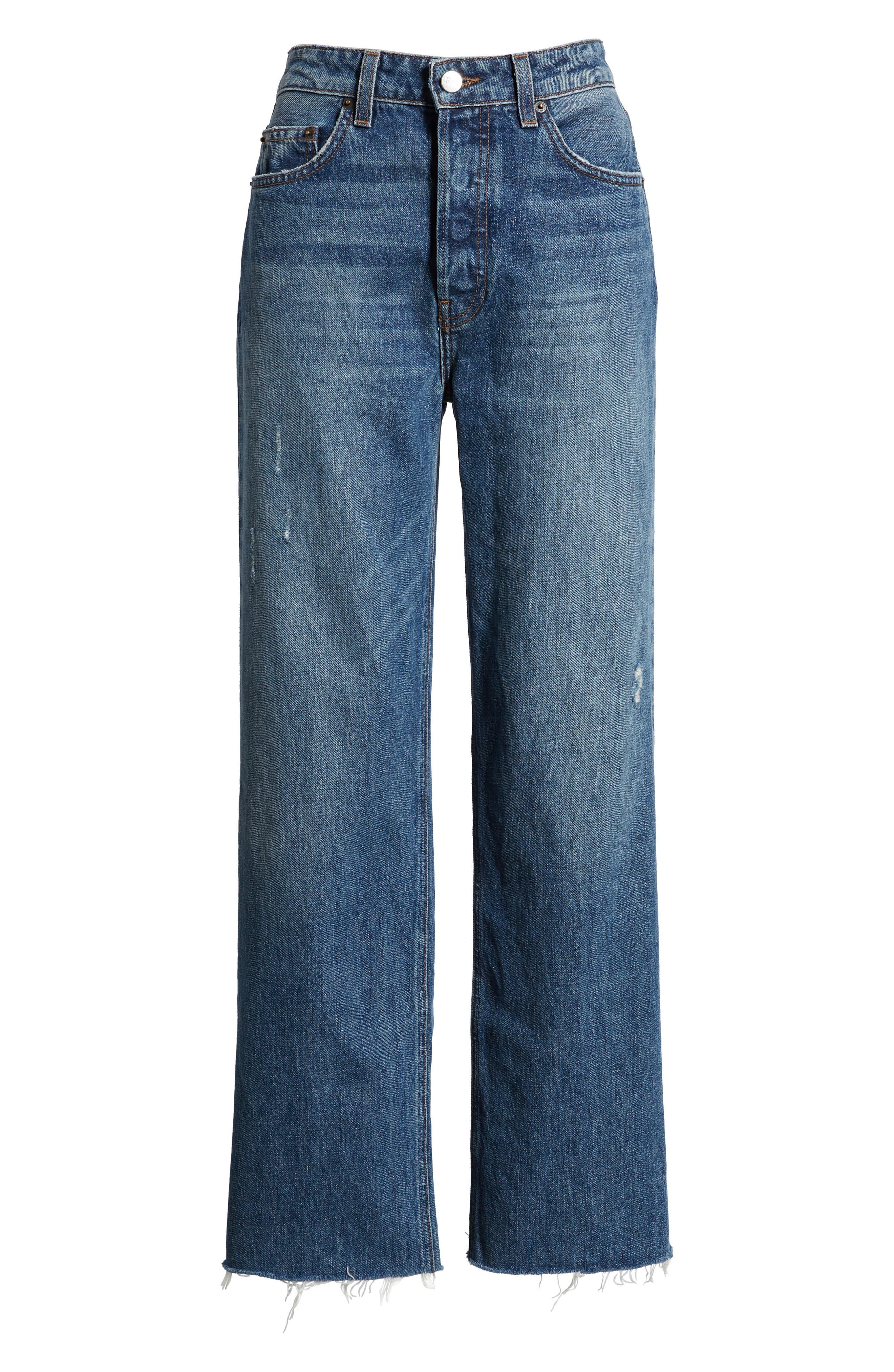 REFORMATION, Fawcett High Waist Crop Jeans, Alternate thumbnail 5, color, CELTIC