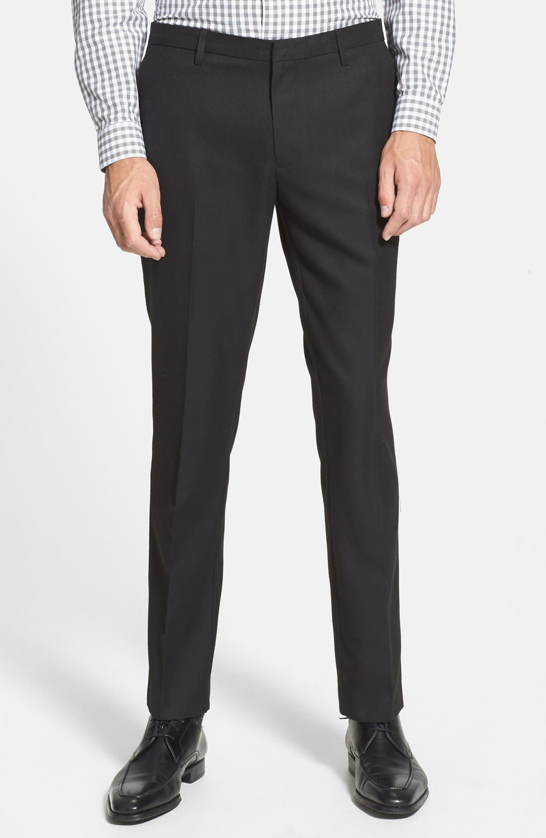 TOPMAN, Skinny Fit Cotton Flannel Trousers, Main thumbnail 1, color, 001