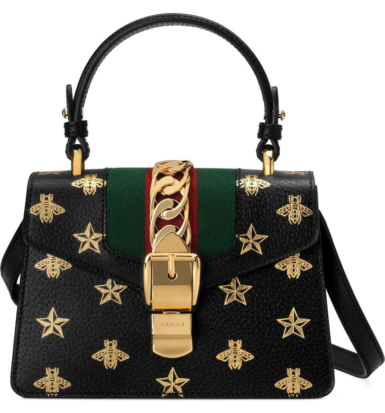 2ad116b487f Gucci Small Sylvie Top Handle Leather Shoulder Bag