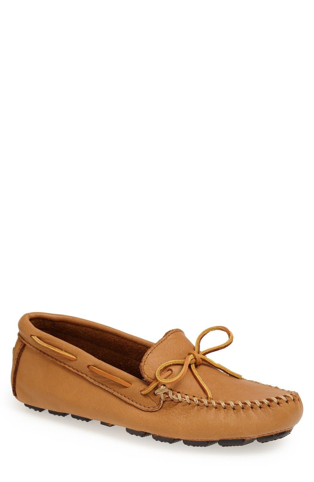 MINNETONKA Moosehide Driving Shoe, Main, color, NATURAL