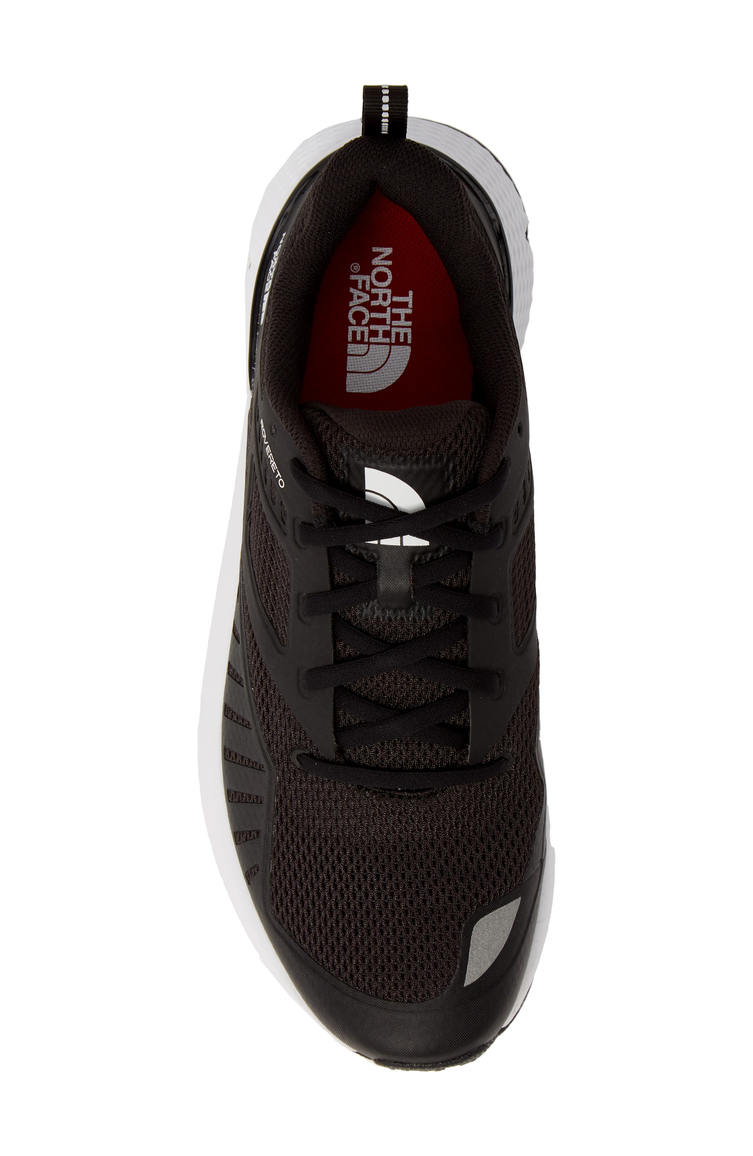 THE NORTH FACE, Rovereto Running Shoe, Alternate thumbnail 5, color, BLACK/ WHITE
