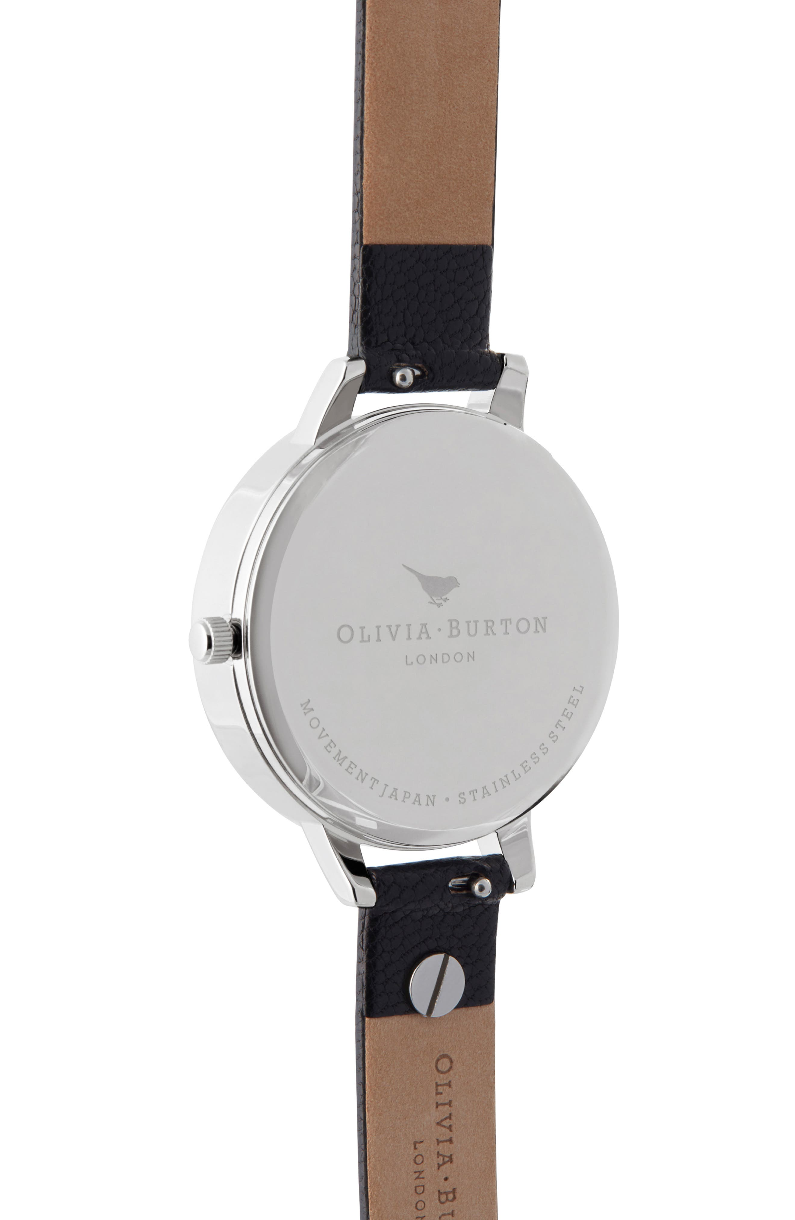 OLIVIA BURTON, Celestial Leather Strap Watch, 34mm, Alternate thumbnail 3, color, BLACK/ GOLD/ SILVER