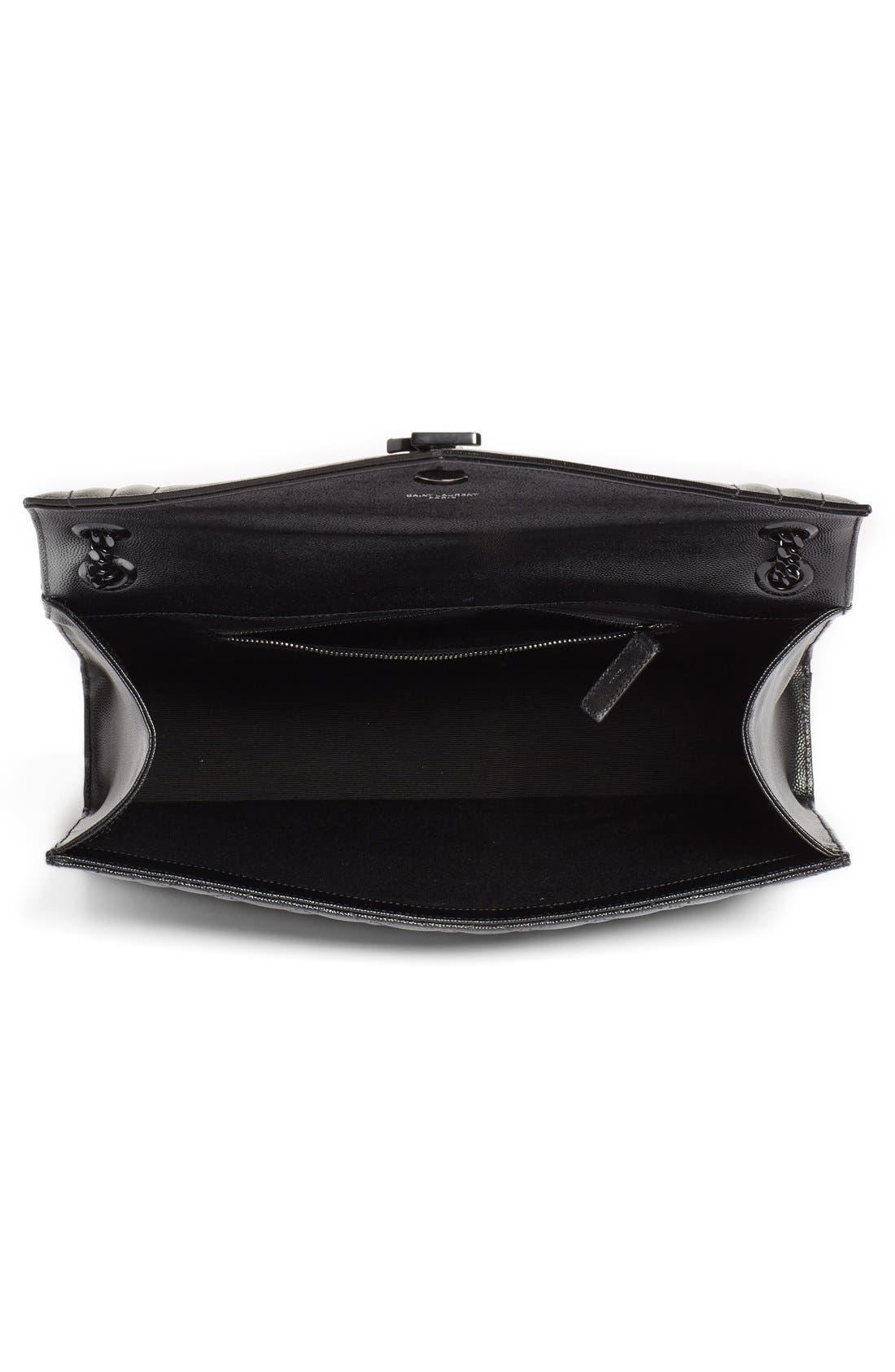 SAINT LAURENT, 'Medium Monogram' Chevron Quilted Leather Shoulder Bag, Alternate thumbnail 2, color, 001