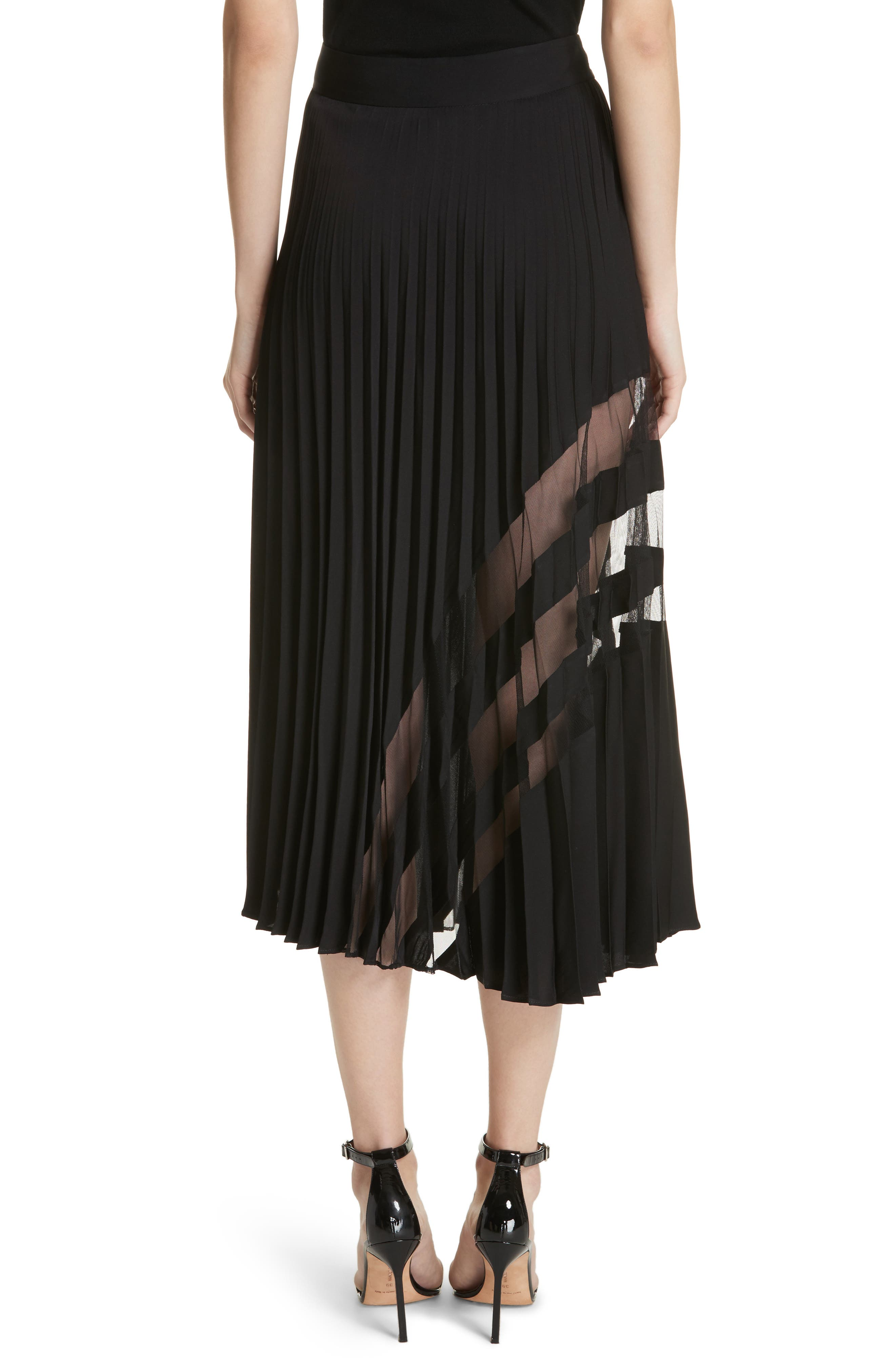 MILLY, Pleated Maxi Skirt, Alternate thumbnail 2, color, 007