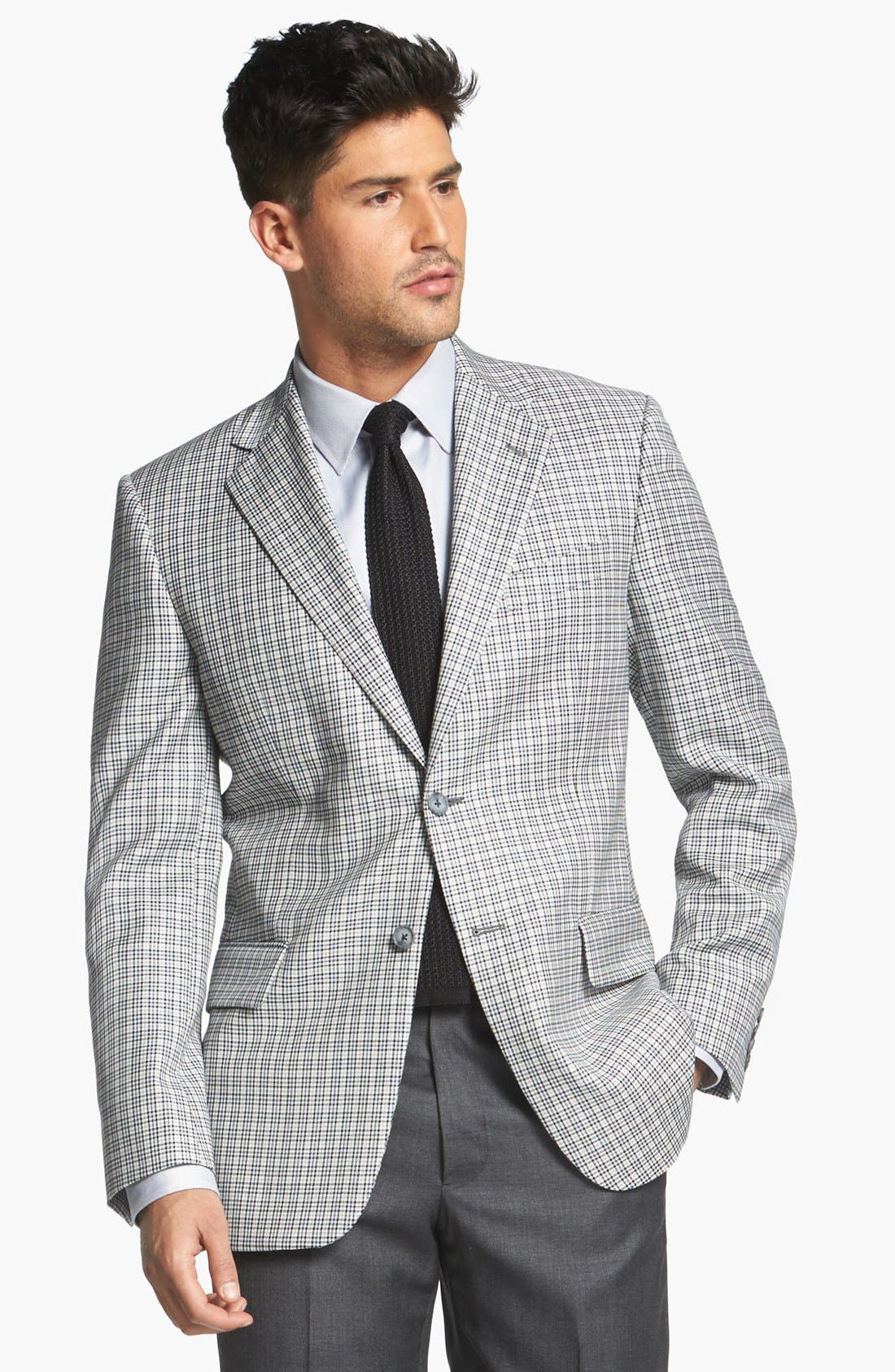JOSEPH ABBOUD, 'Signature Silver' Check Wool & Silk Sportcoat, Main thumbnail 1, color, 400