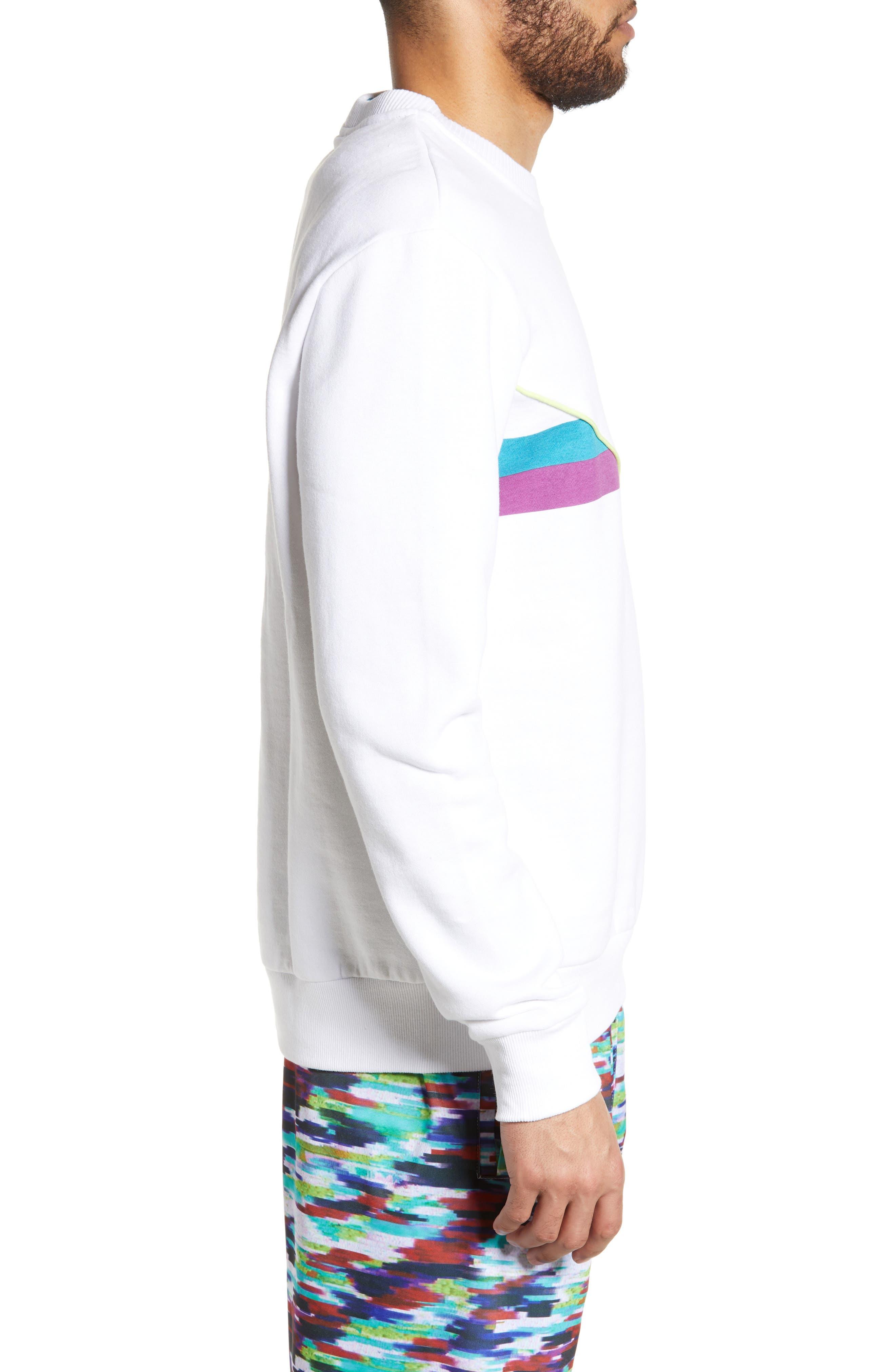 FILA, Leroy Chevron Sweatshirt, Alternate thumbnail 3, color, WHITE