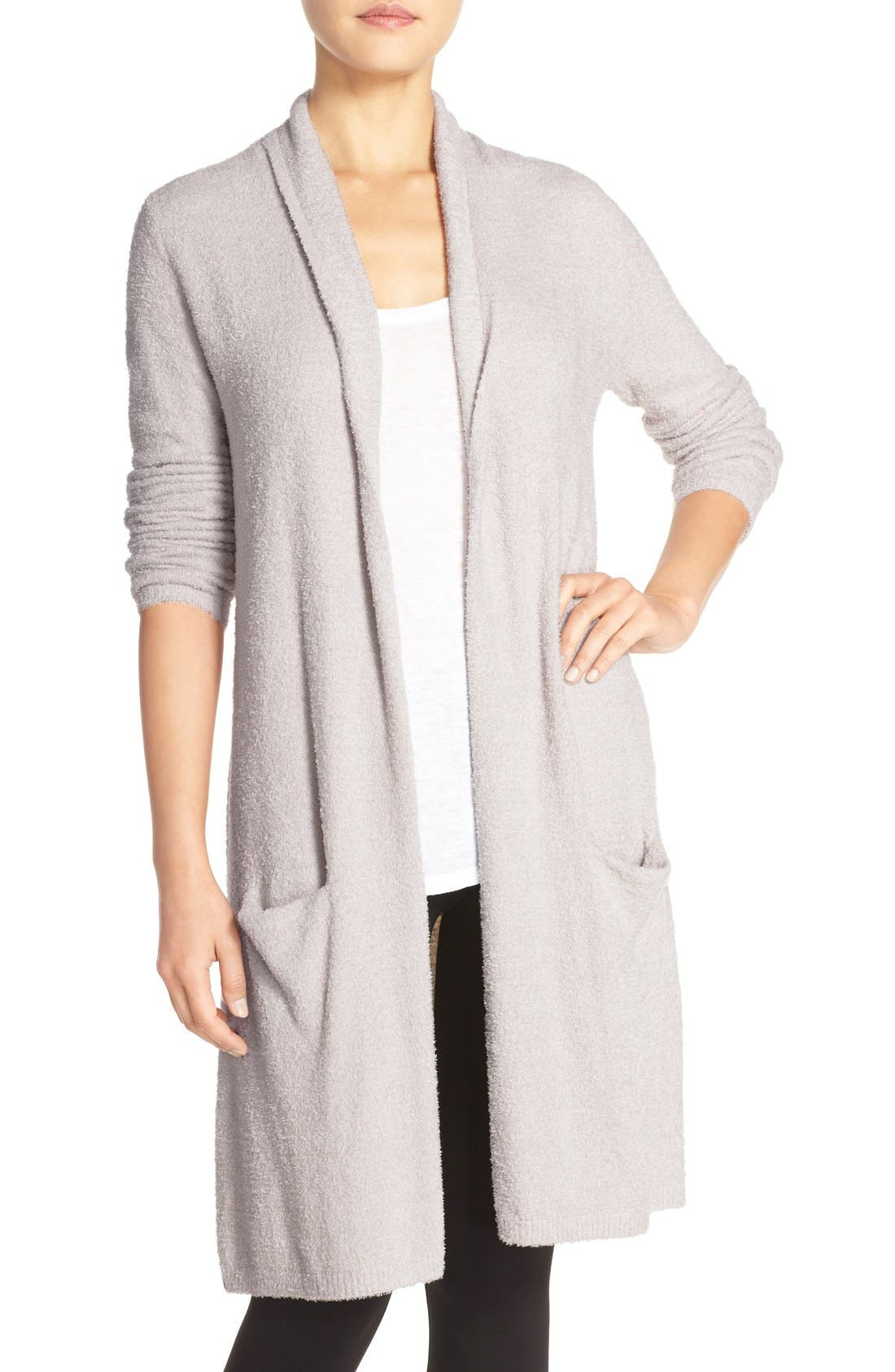 BAREFOOT DREAMS<SUP>®</SUP>, CozyChic Lite<sup>®</sup> Long Essential Cardigan, Main thumbnail 1, color, 020