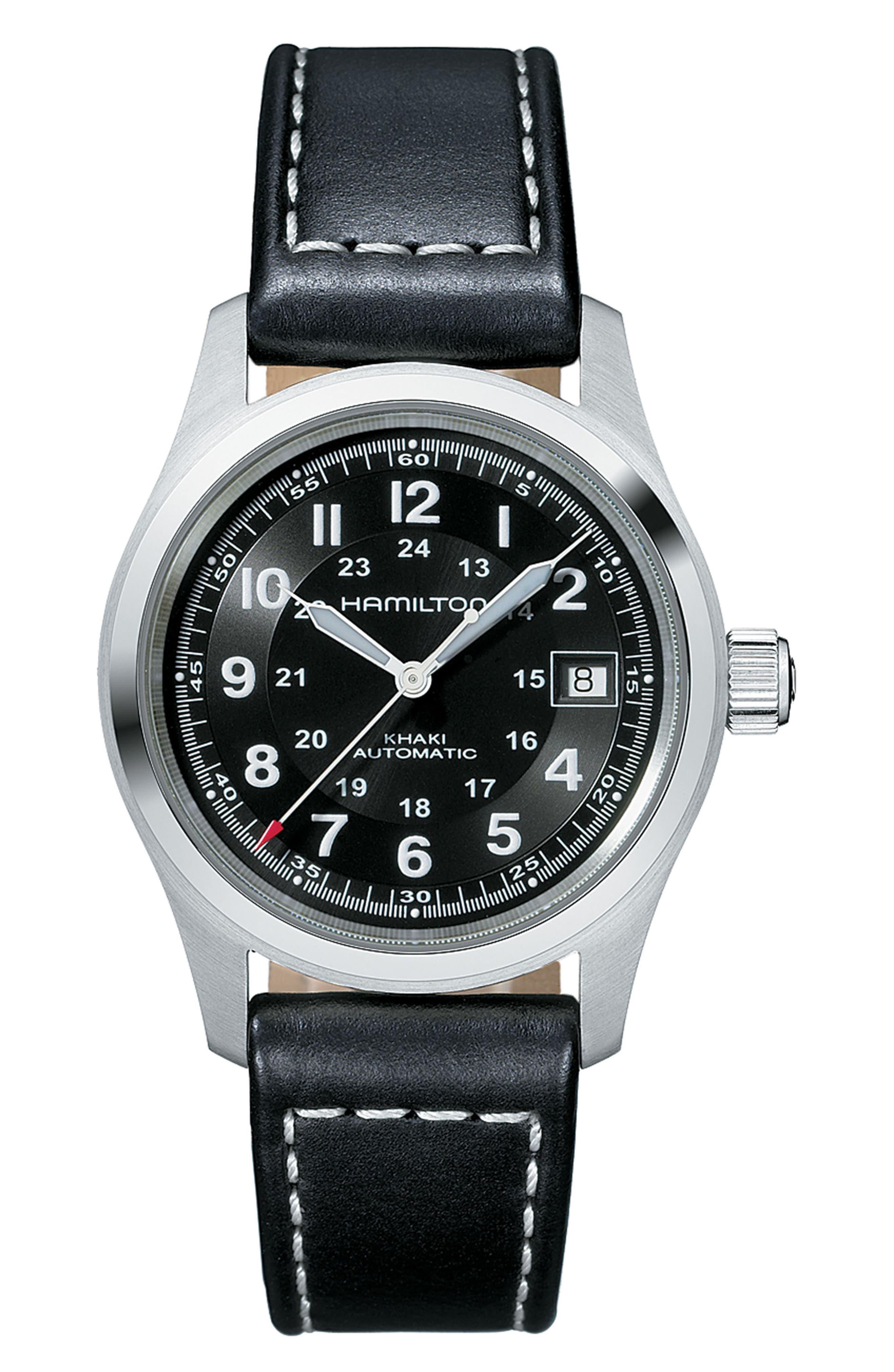 HAMILTON Khaki Field Automatic Leather Strap Watch, 38mm, Main, color, BLACK/ SILVER