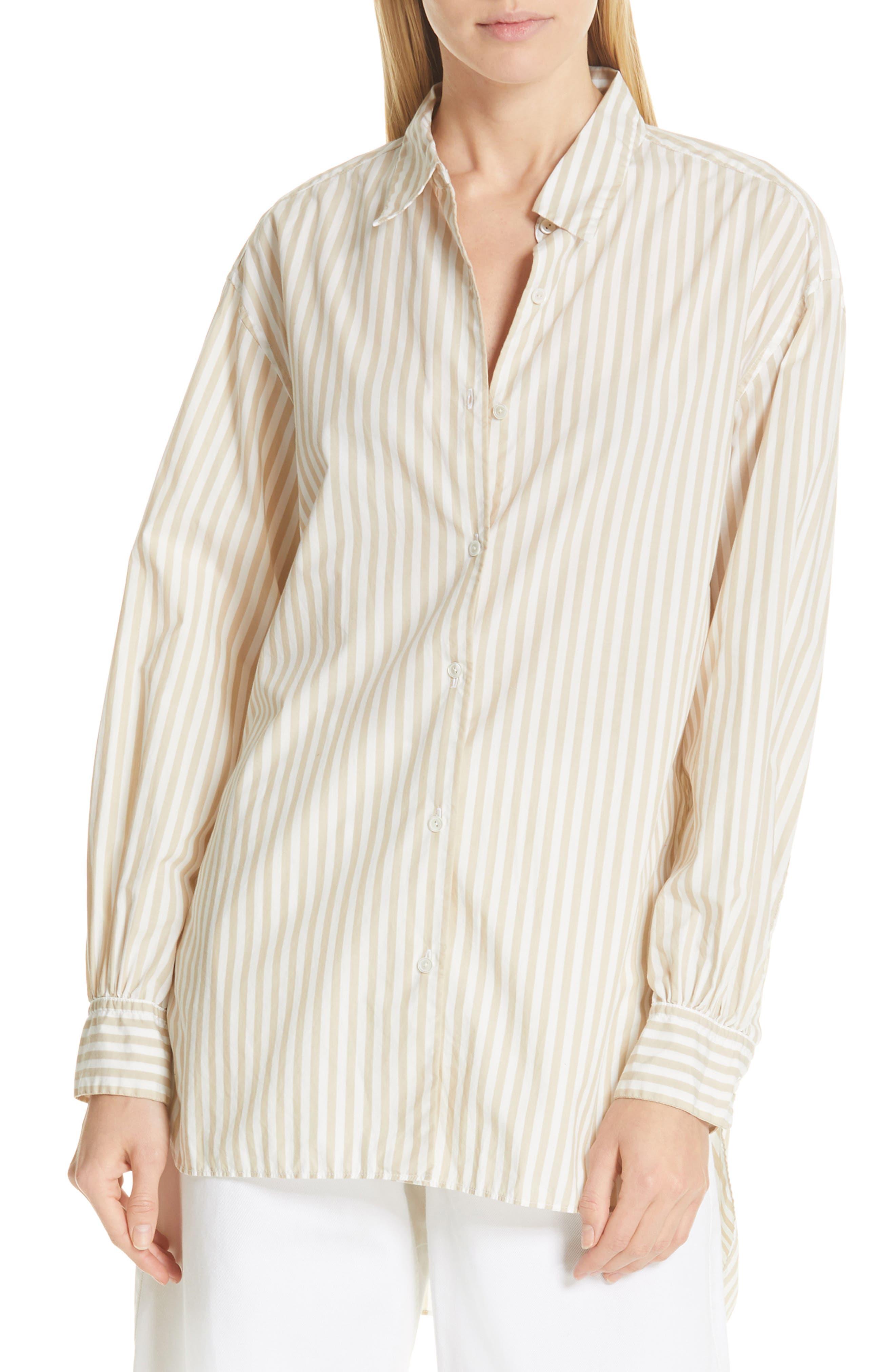 NILI LOTAN, Noa Stripe Shirt, Main thumbnail 1, color, TAN STRIPE
