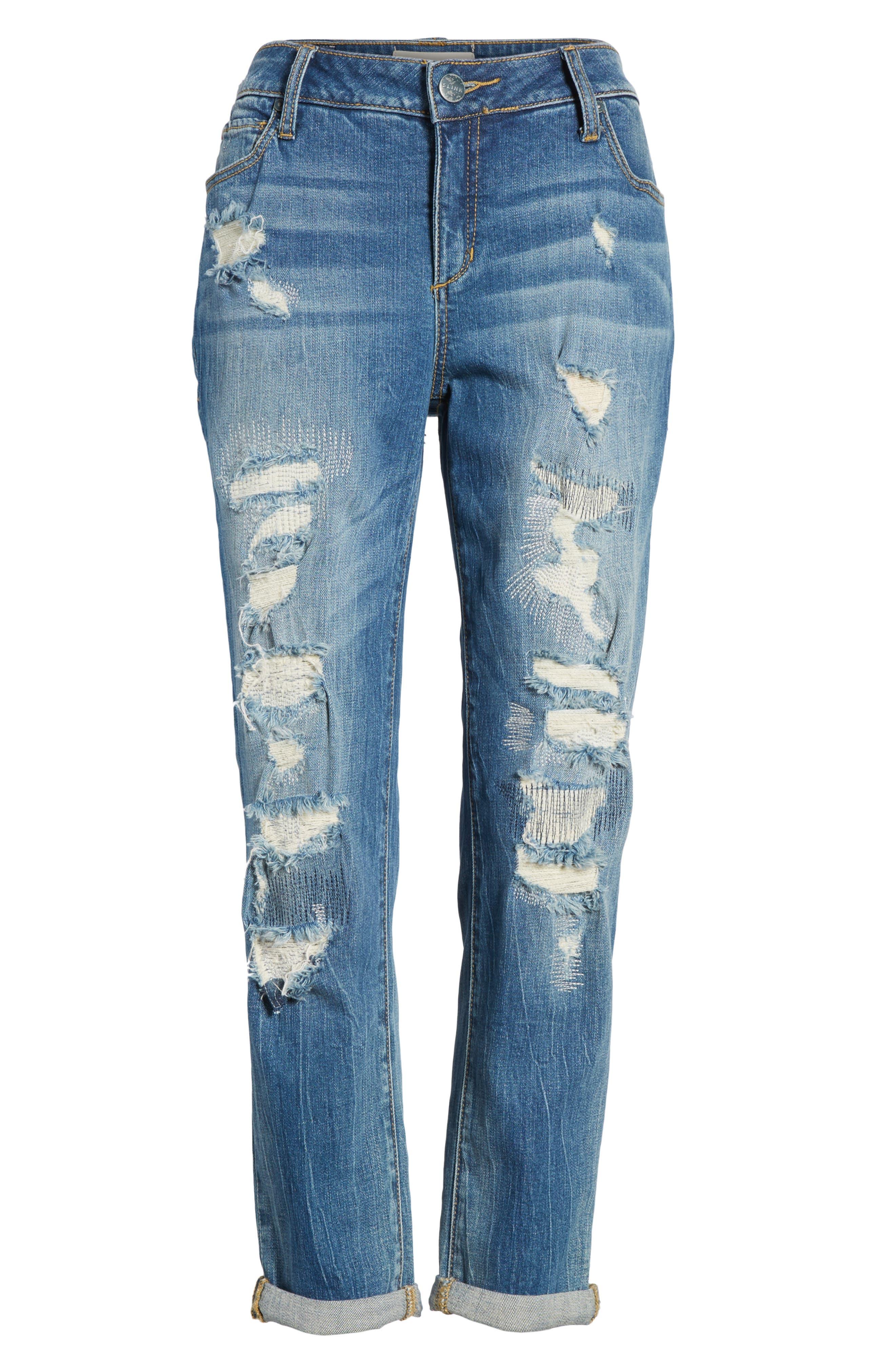 SLINK JEANS, Distressed Ankle Boyfriend Jeans, Alternate thumbnail 6, color, 456