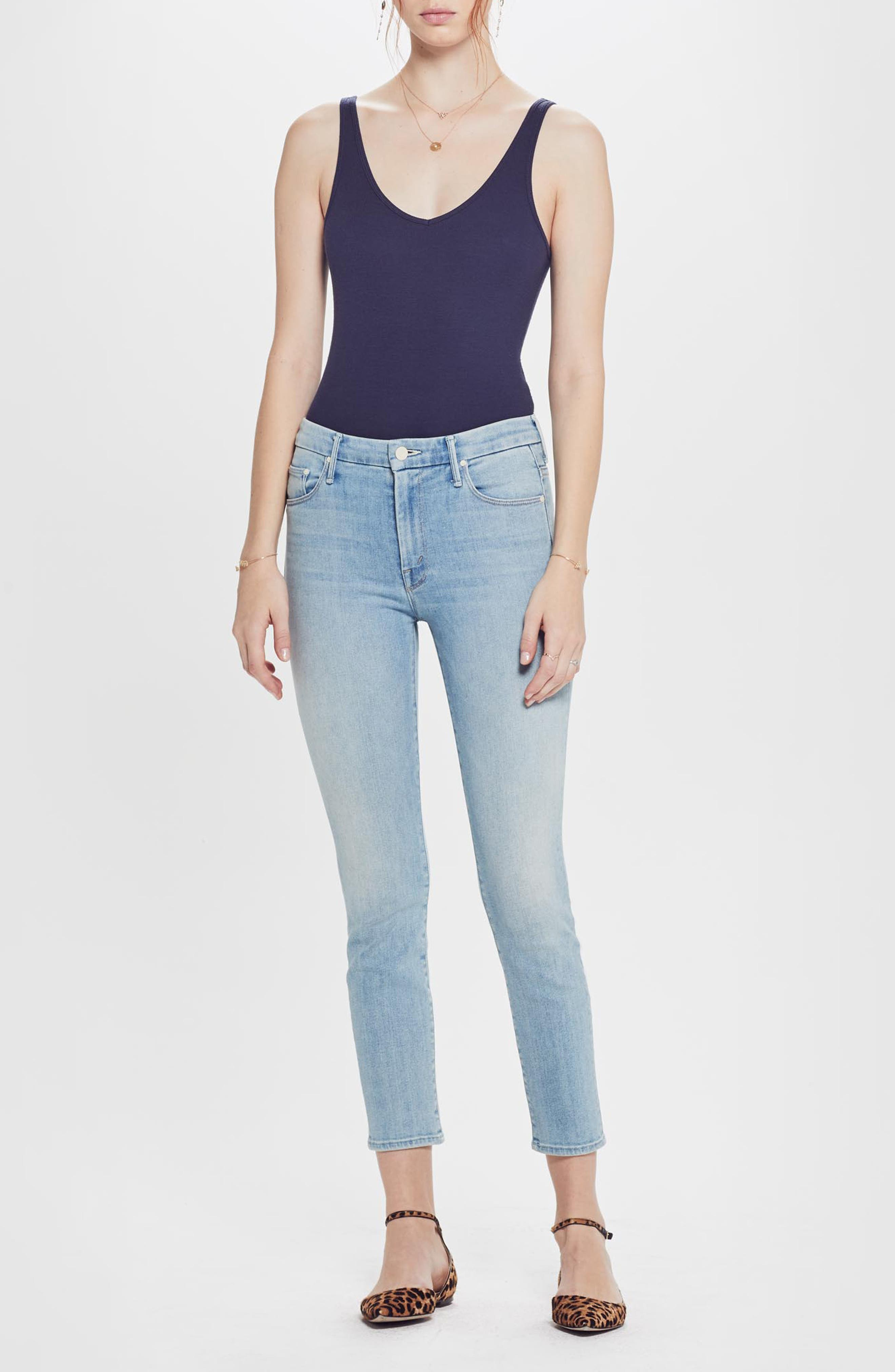 MOTHER, The Looker High Waist Crop Skinny Jeans, Alternate thumbnail 6, color, SWIMMING POOL SUNDAY