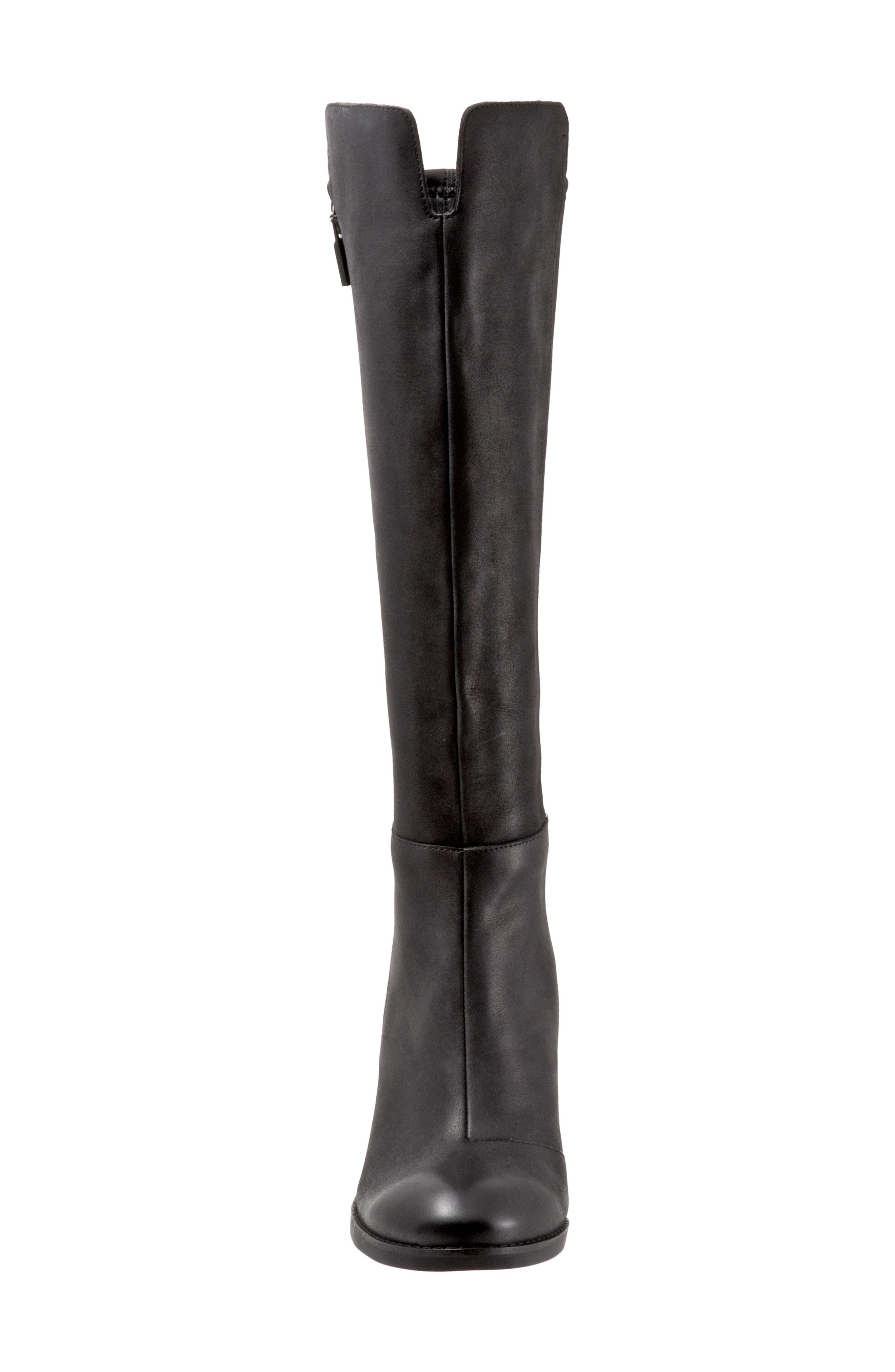 SOFTWALK<SUP>®</SUP>, Katia Knee High Boot, Alternate thumbnail 4, color, BLACK LEATHER