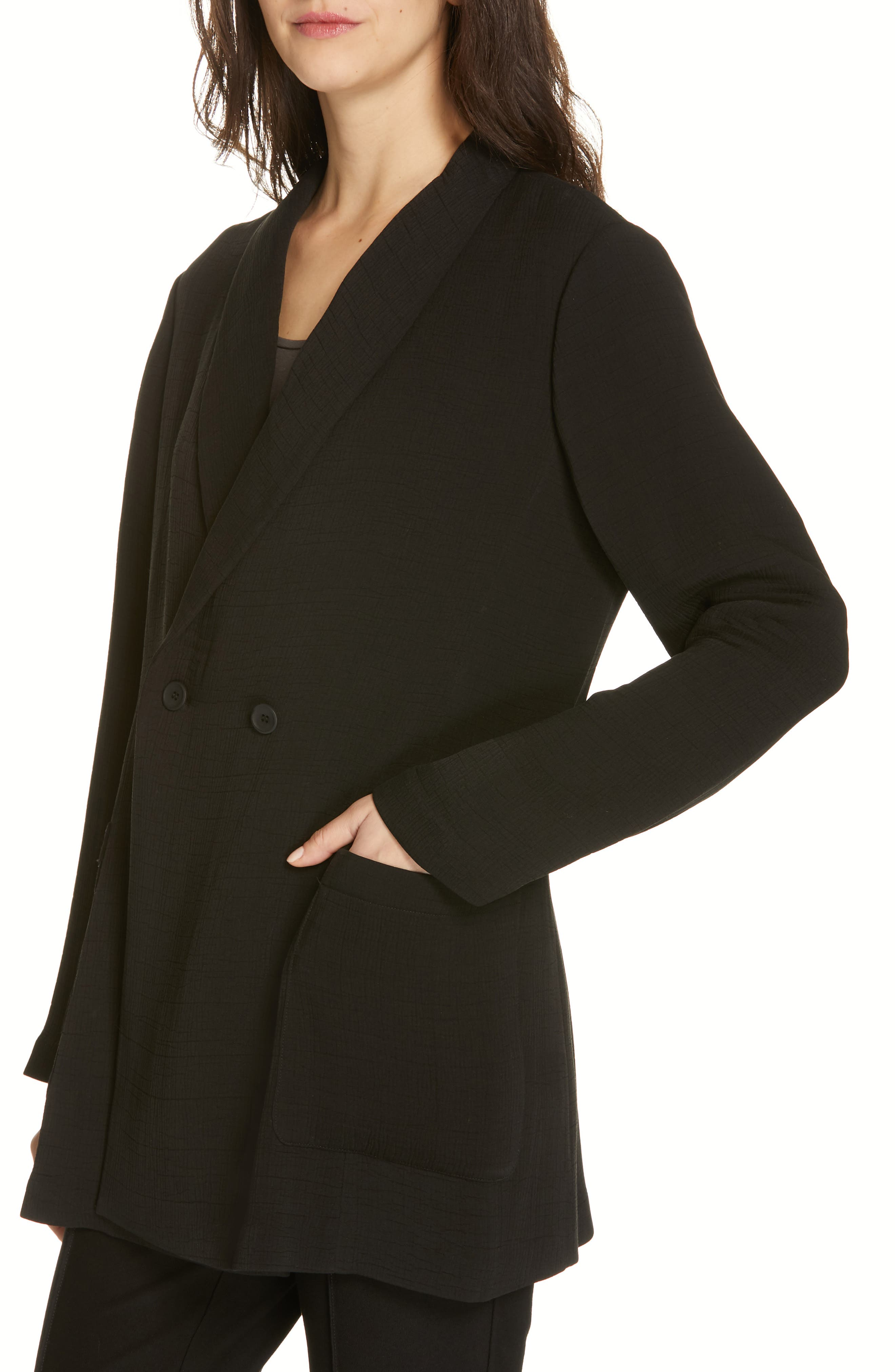 EILEEN FISHER, Double Breasted Blazer, Alternate thumbnail 4, color, BLACK