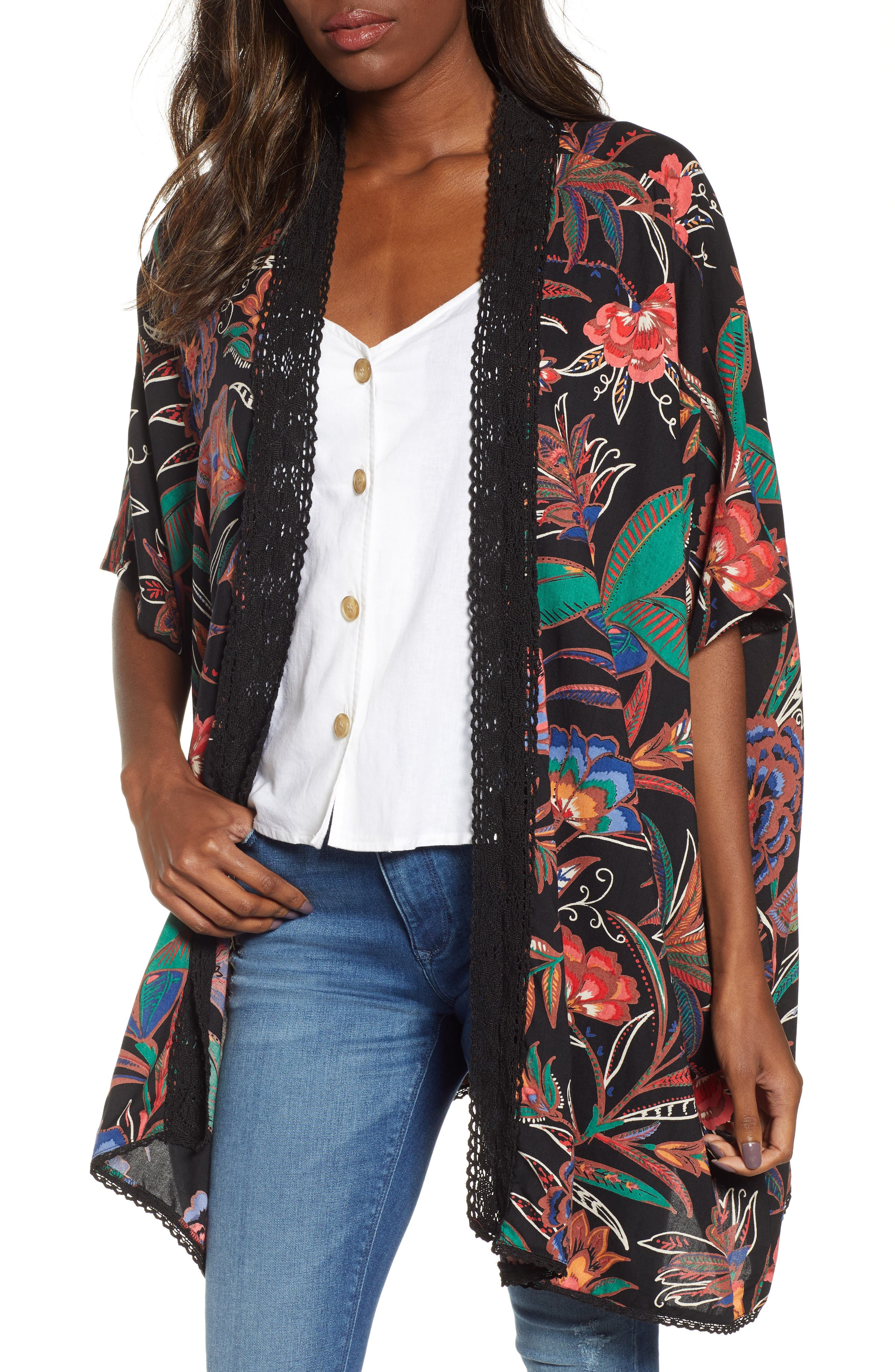 ANGIE, Floral Print Duster, Main thumbnail 1, color, BLACK