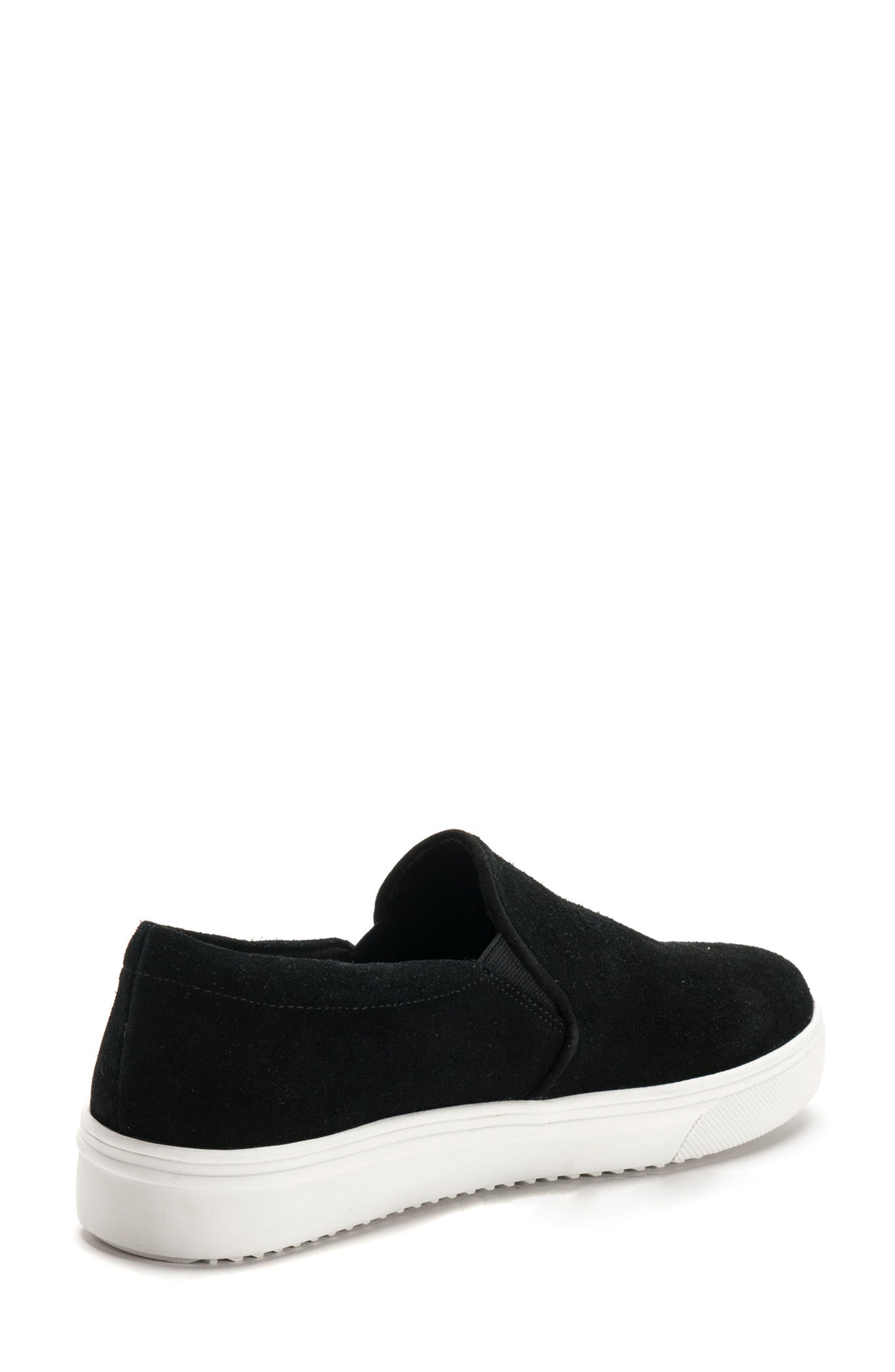 BLONDO, Gracie Waterproof Slip-On Sneaker, Alternate thumbnail 2, color, BLACK SUEDE