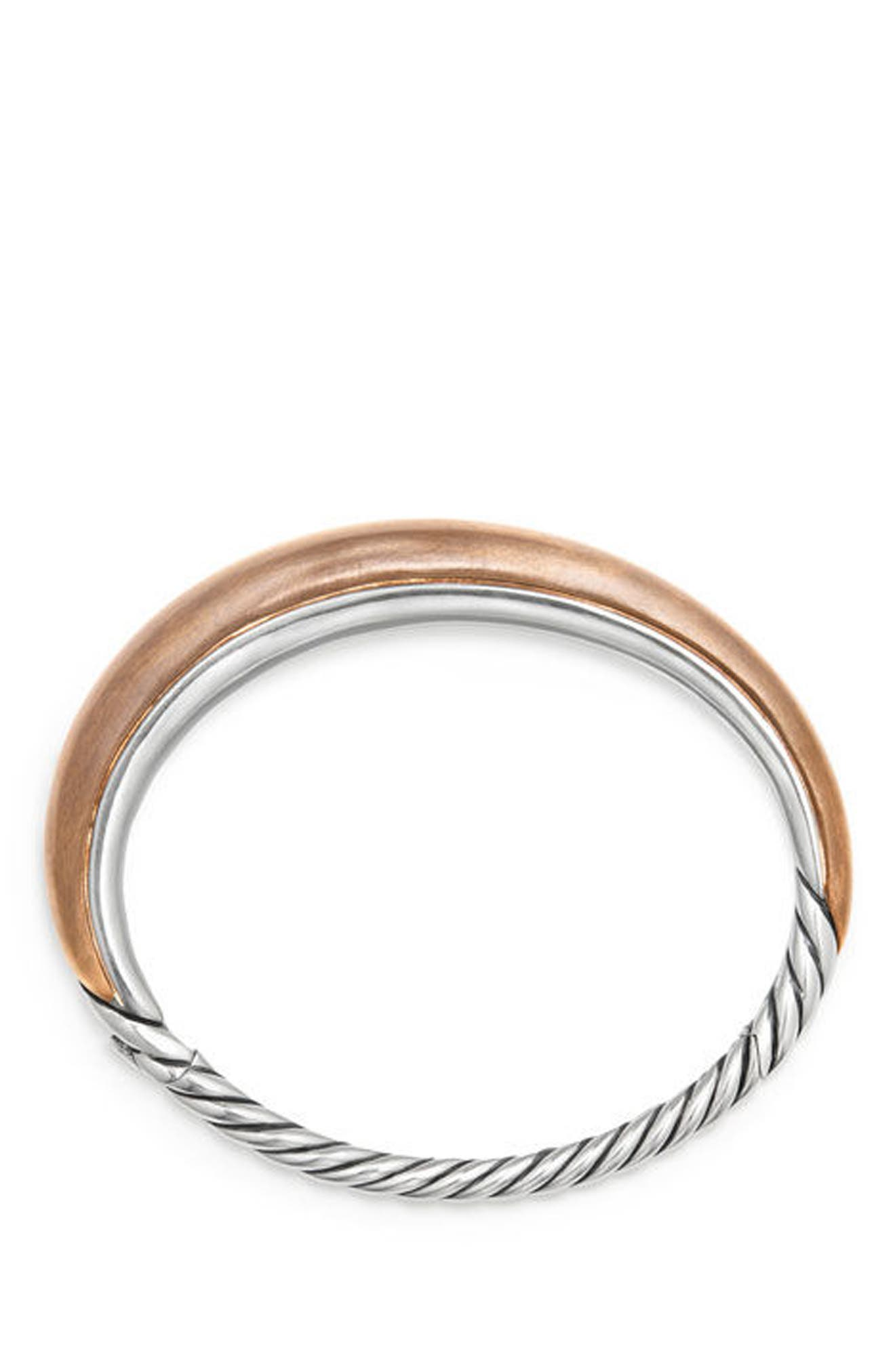DAVID YURMAN, Pure Form Mixed Metal Smooth Bracelet with Diamonds, Bronze and Silver, 9.5mm, Alternate thumbnail 3, color, SILVER