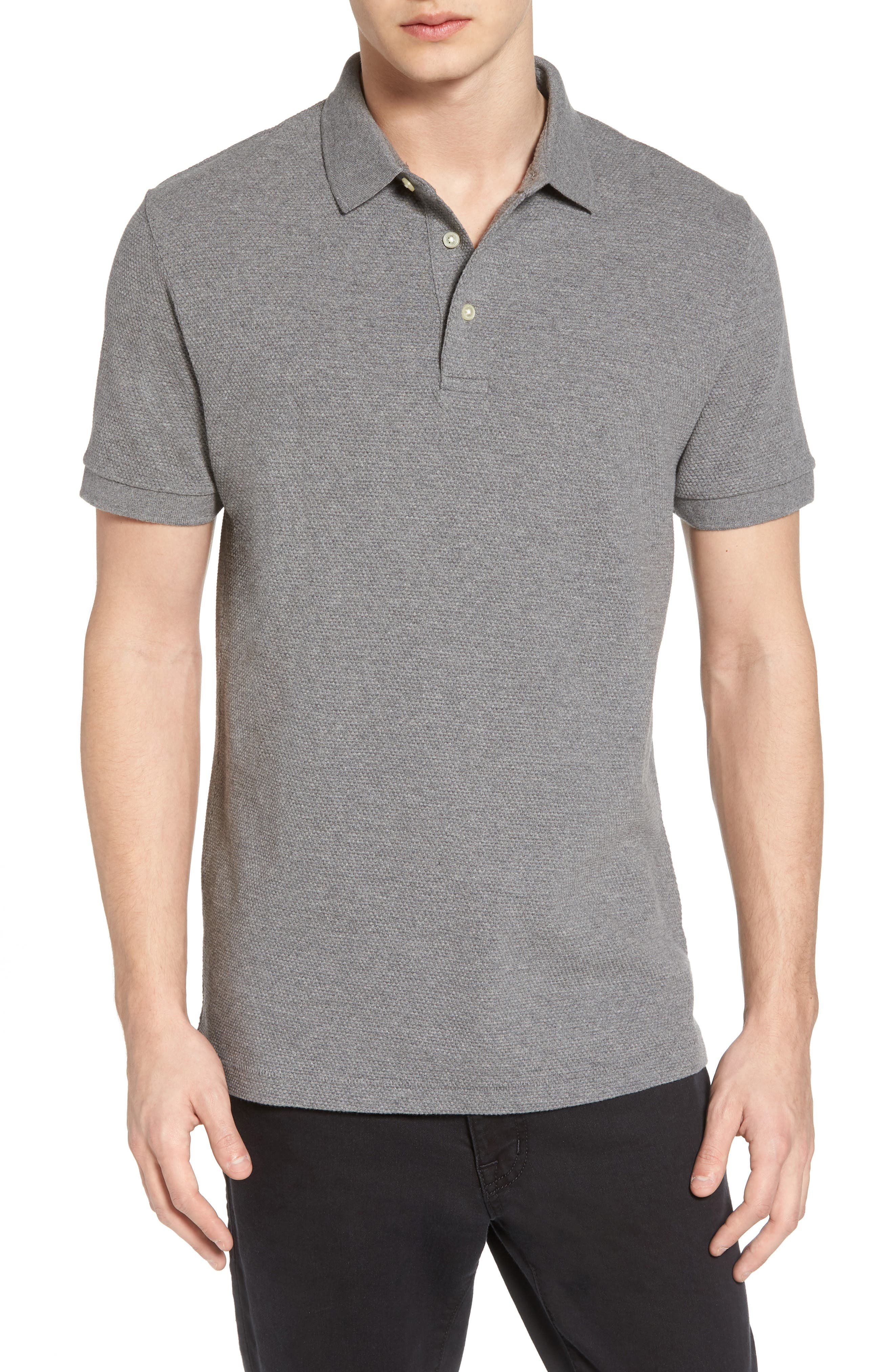 FRENCH CONNECTION, Ampthill Pebble Knit Polo, Main thumbnail 1, color, 020