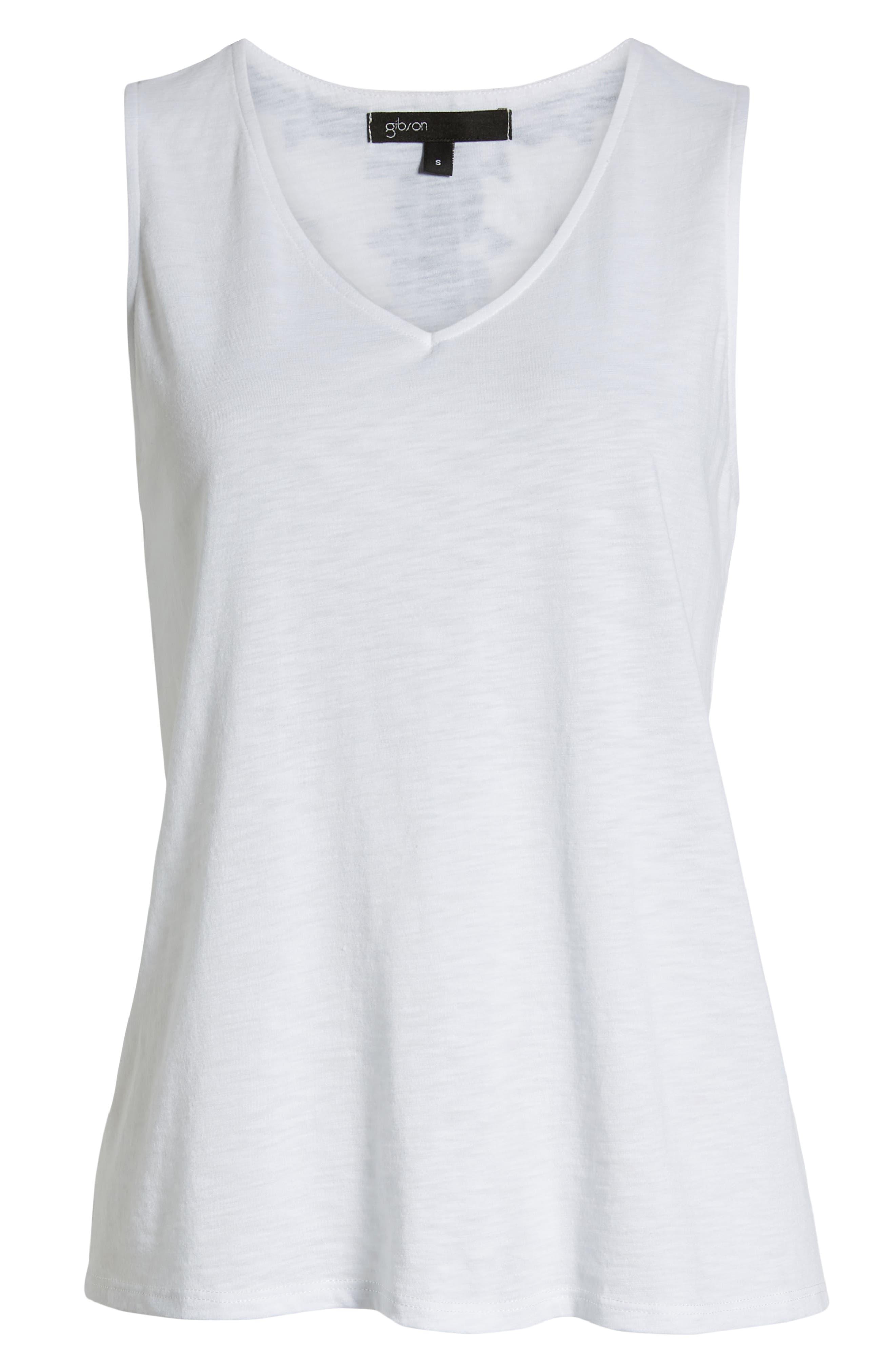 GIBSON, x Hi Sugarplum! Malibu Embroidered Racerback Tank Top, Alternate thumbnail 6, color, WHITE W/ BLACK/ WHITE
