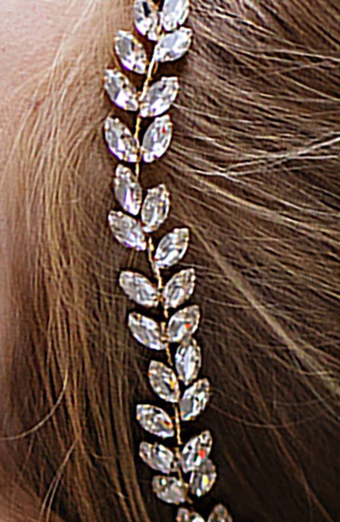 BRIDES & HAIRPINS, Alegra Crystal Leaf Halo & Sash, Alternate thumbnail 3, color, ANTIQUE