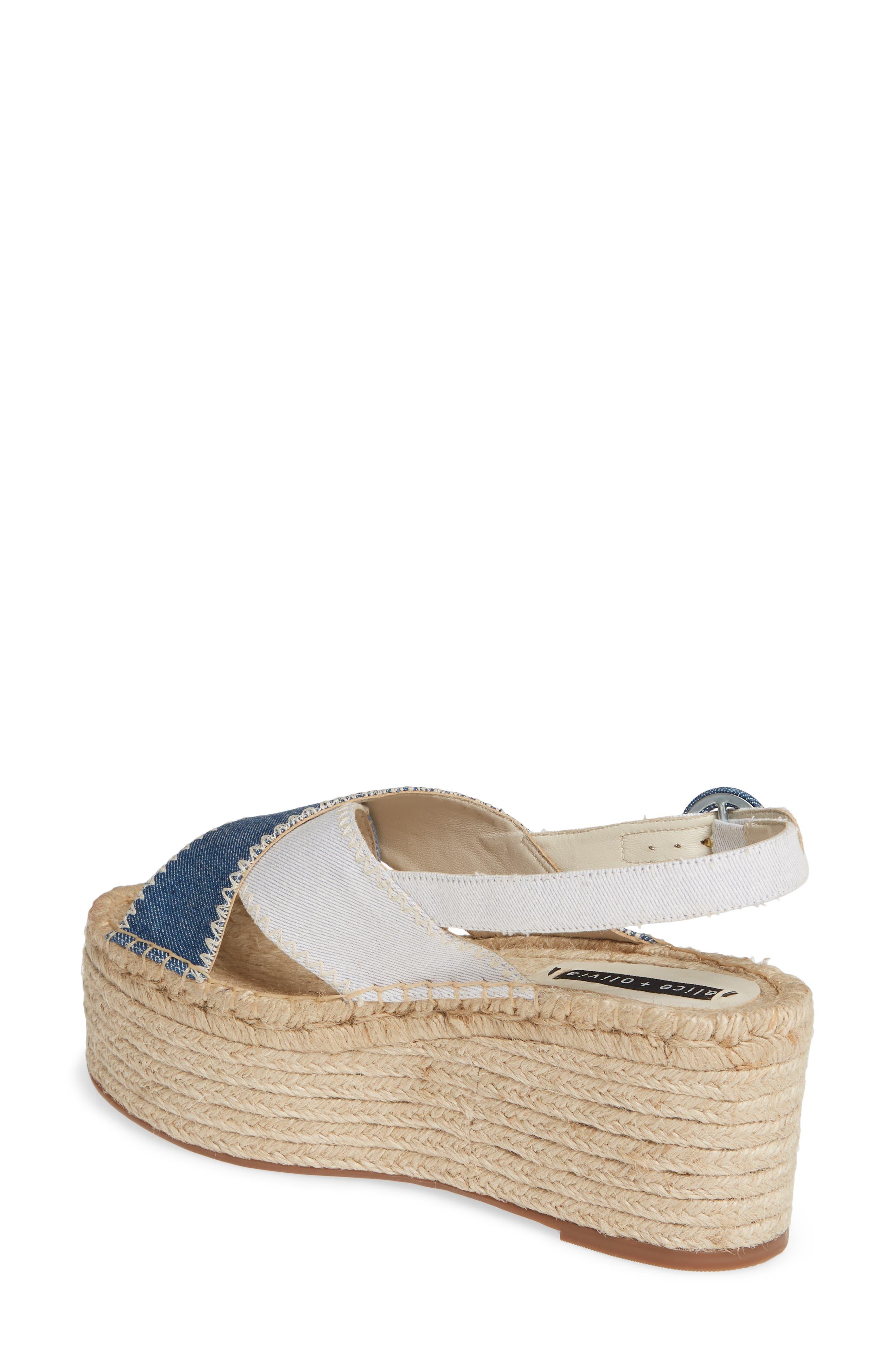 ALICE + OLIVIA, Fayen Platform Sandal, Alternate thumbnail 2, color, DARK BLUE/ LIGHT BLUE/ IVORY